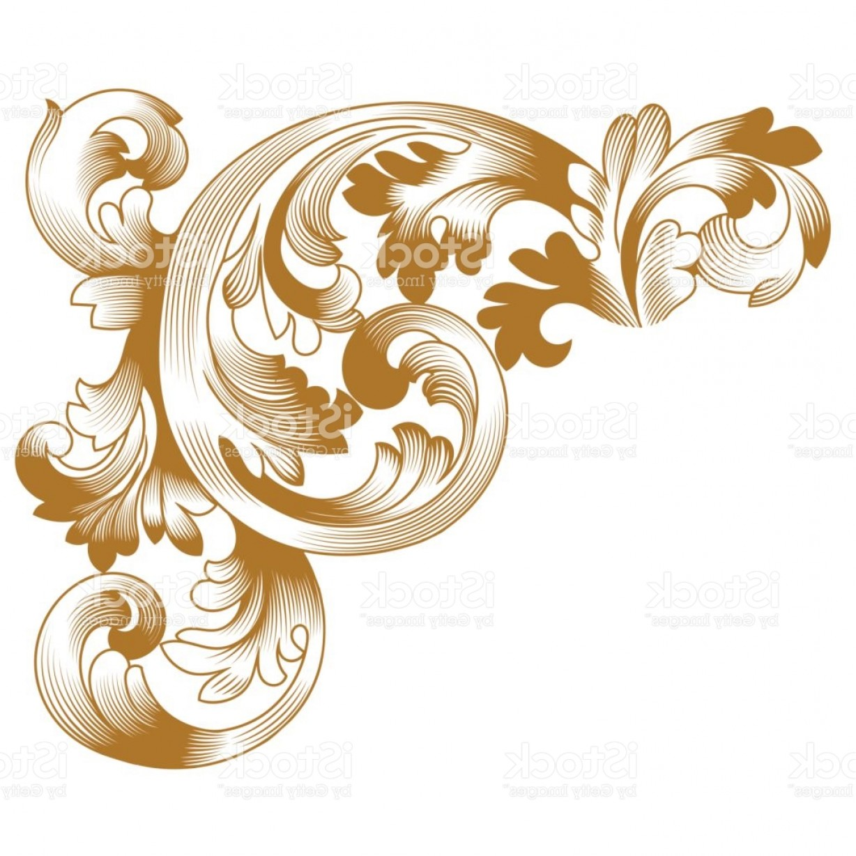 Baroque Vector Clip Art: Golden Vintage Baroque Ornament Corner Retro Pattern Antique Style Acanthus Gm