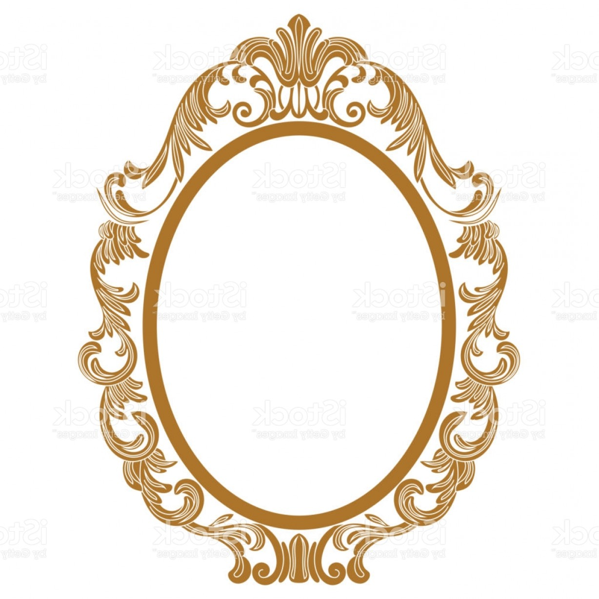 Filigree Oval Frame Vector: Golden Vintage Oval Graphical Frame In Antique Style Vector Gm