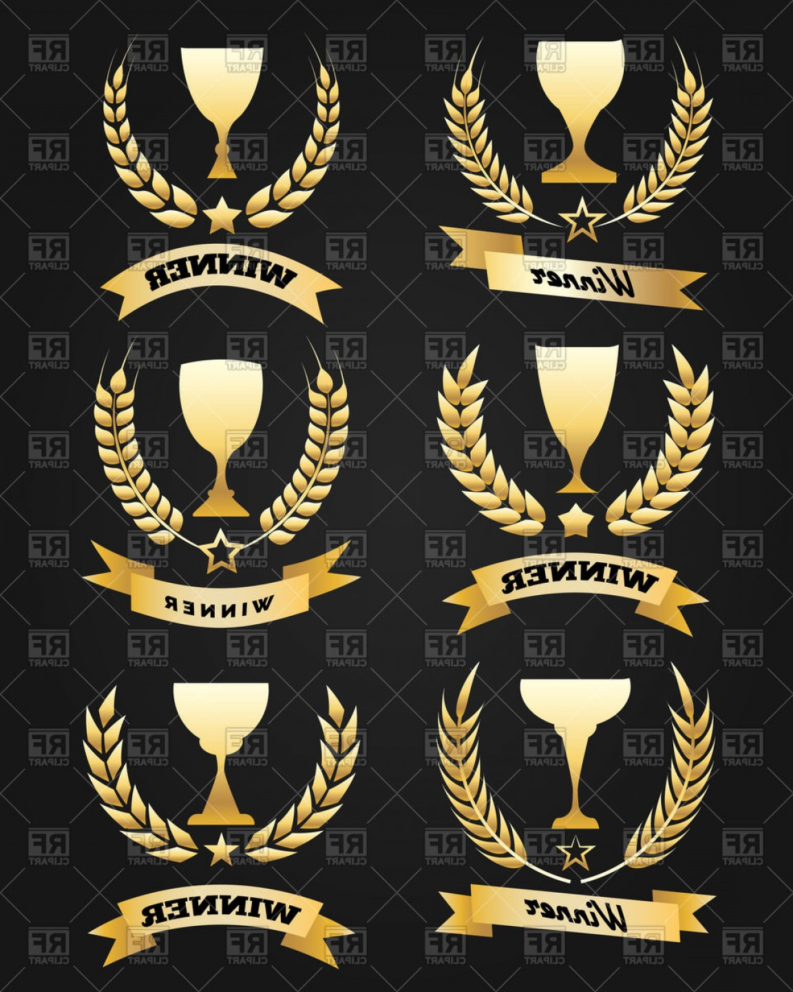 Wheat Wreath Vector Art: Golden Winner Cups With Ribbon And Wheat Wreaths Vector Clipart