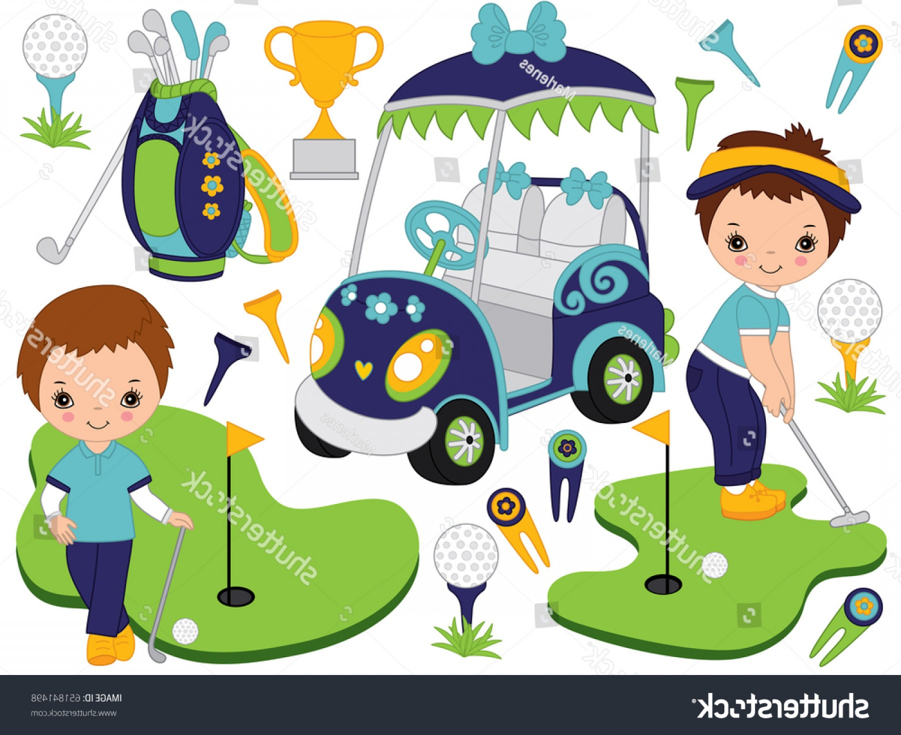 Vector Golf Simulator: Golf Set Includes Little Boys Playing