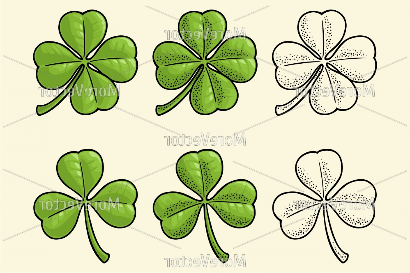 Vector Shamrock Ivory Color: Good Luck Four And Three Leaf Clover Vintage Color And Black Vector E