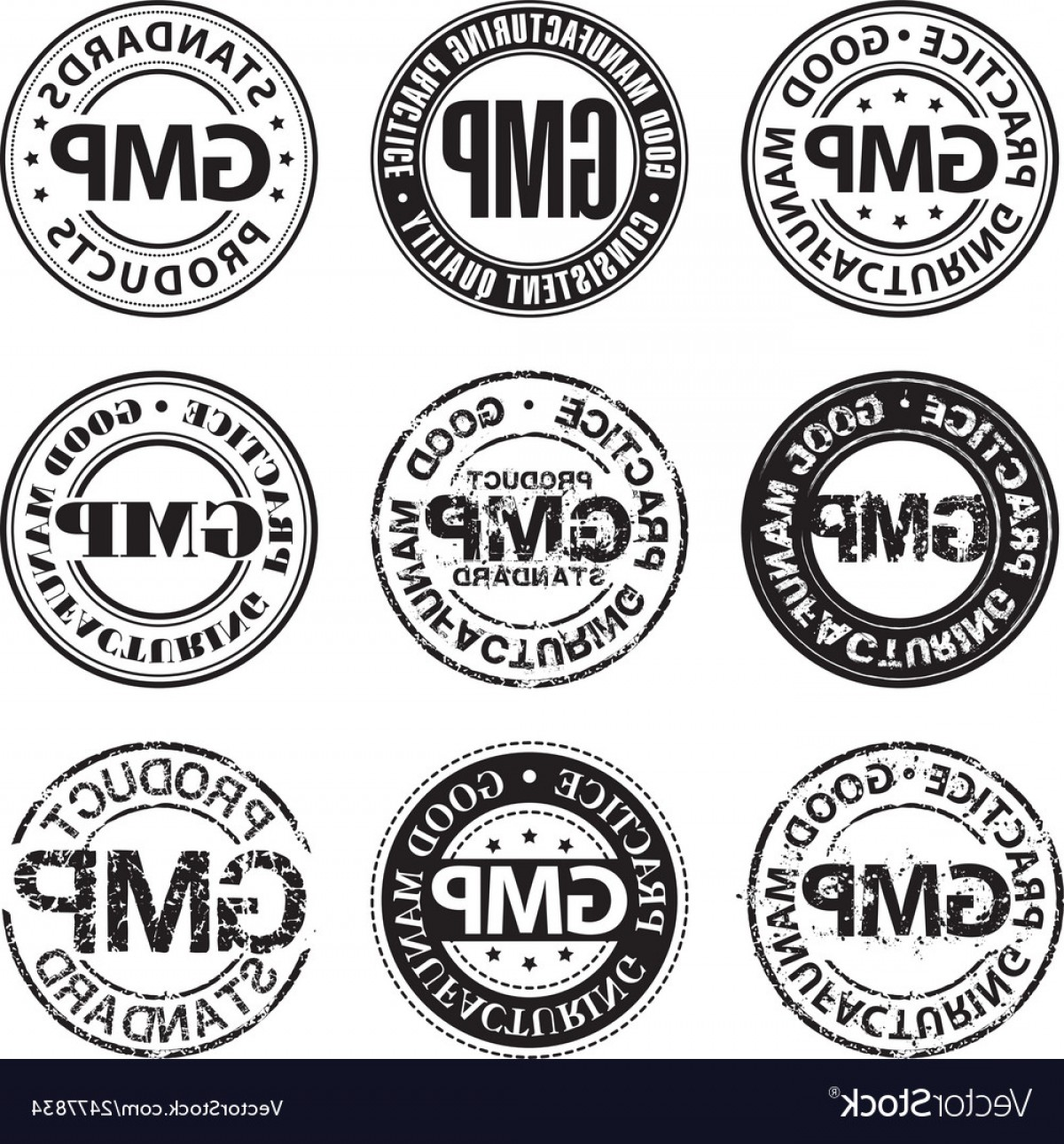 GMP Logo Vector: Good Manufacturing Practice Stamp Vector