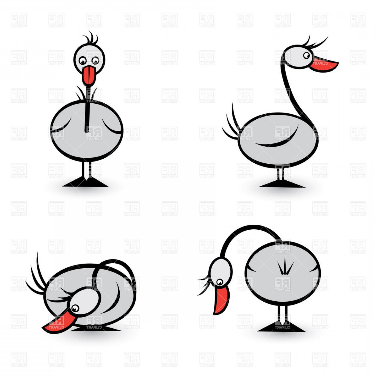 Geese Vector: Goose In Different Positions Vector Clipart
