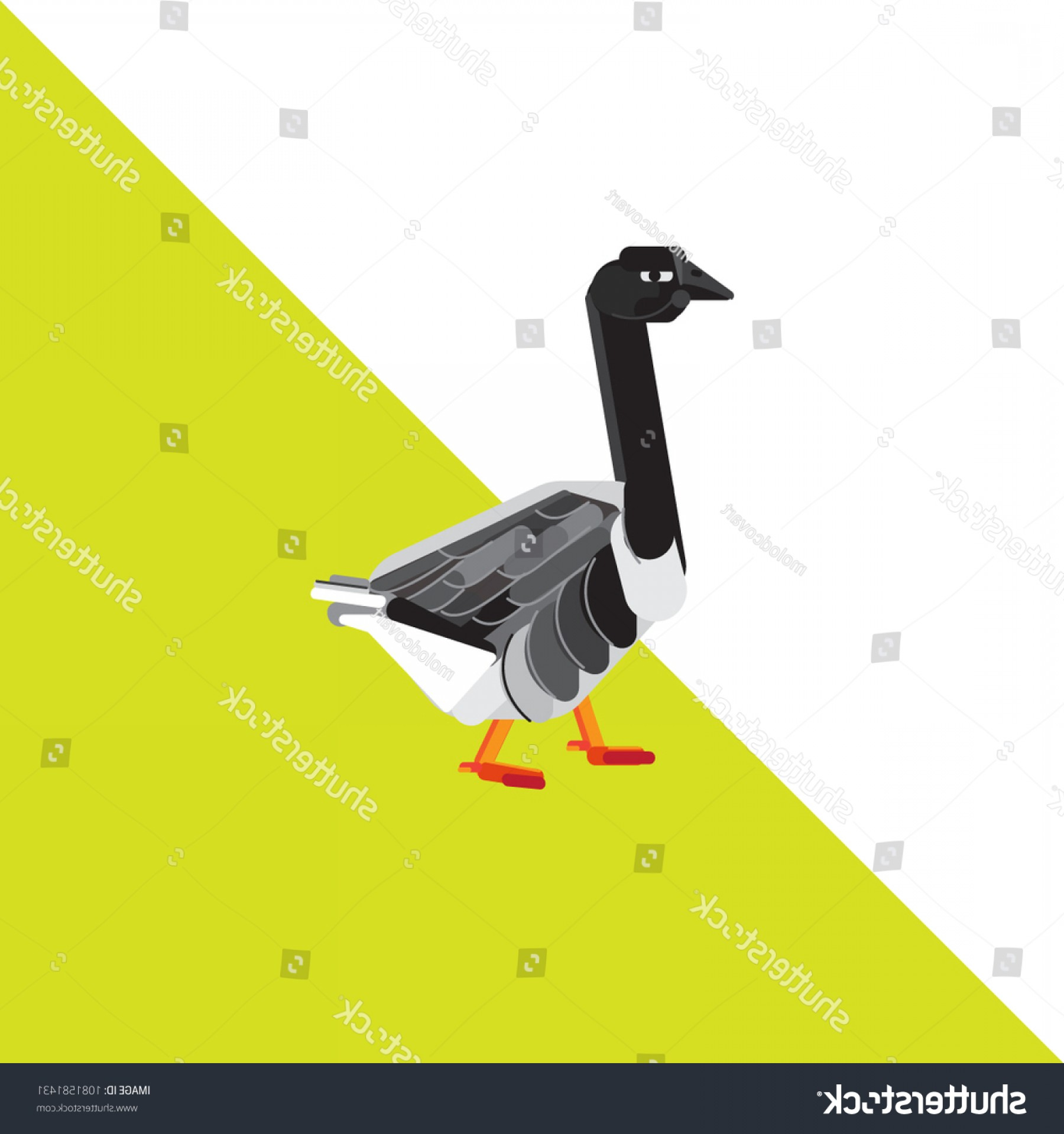 Poultry Vector Art: Goose Vector Illustration Poultry Gray