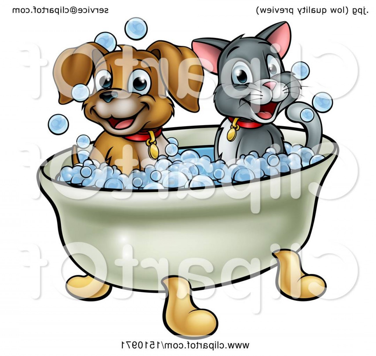 Dog Bubble Bath Vector: Gorgeous Cartoon Happy Puppy Dog And Cat Soaking In A Bubble Bath