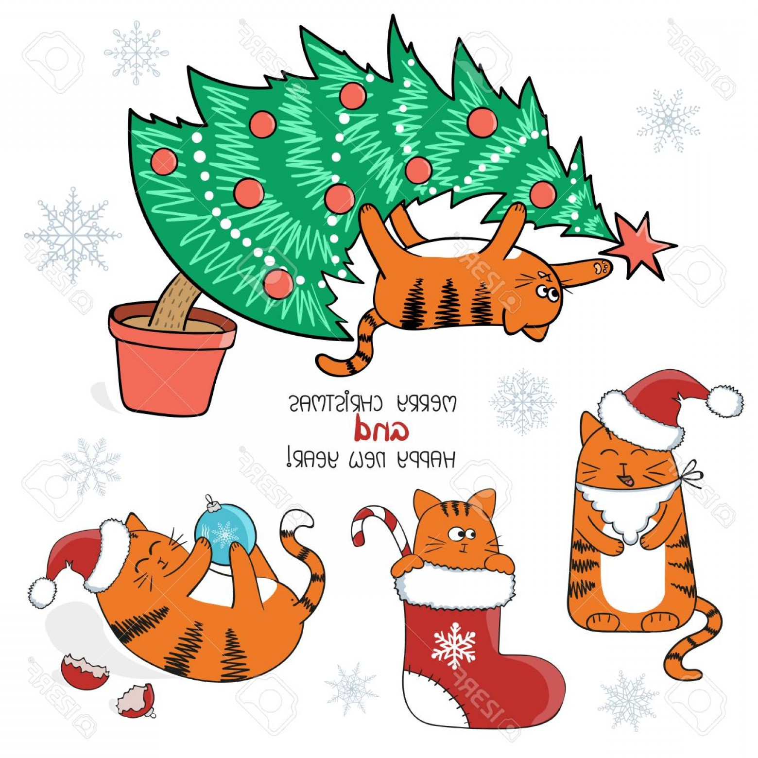 Stocking Hat Vector: Gorgeous Photostock Vector Christmas And New Year Set Cute Cartoon Cats With Santa Hat In Christmas Stocking On Xmas Tree Vecto