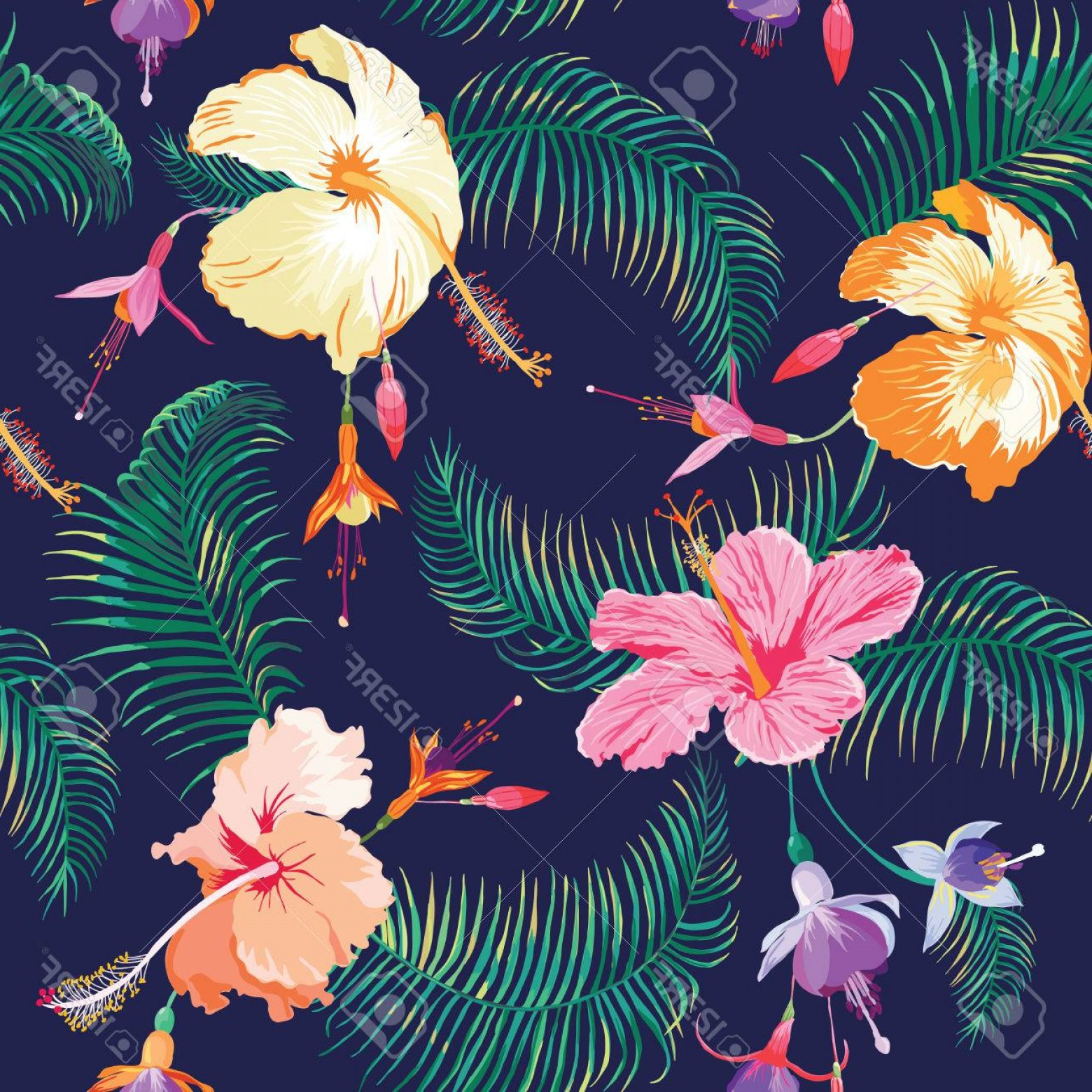 Hawaiian Flower Seamless Vector Pattern: Gorgeous Photostock Vector Tropical Flower Background Vintage Seamless Pattern In Vector