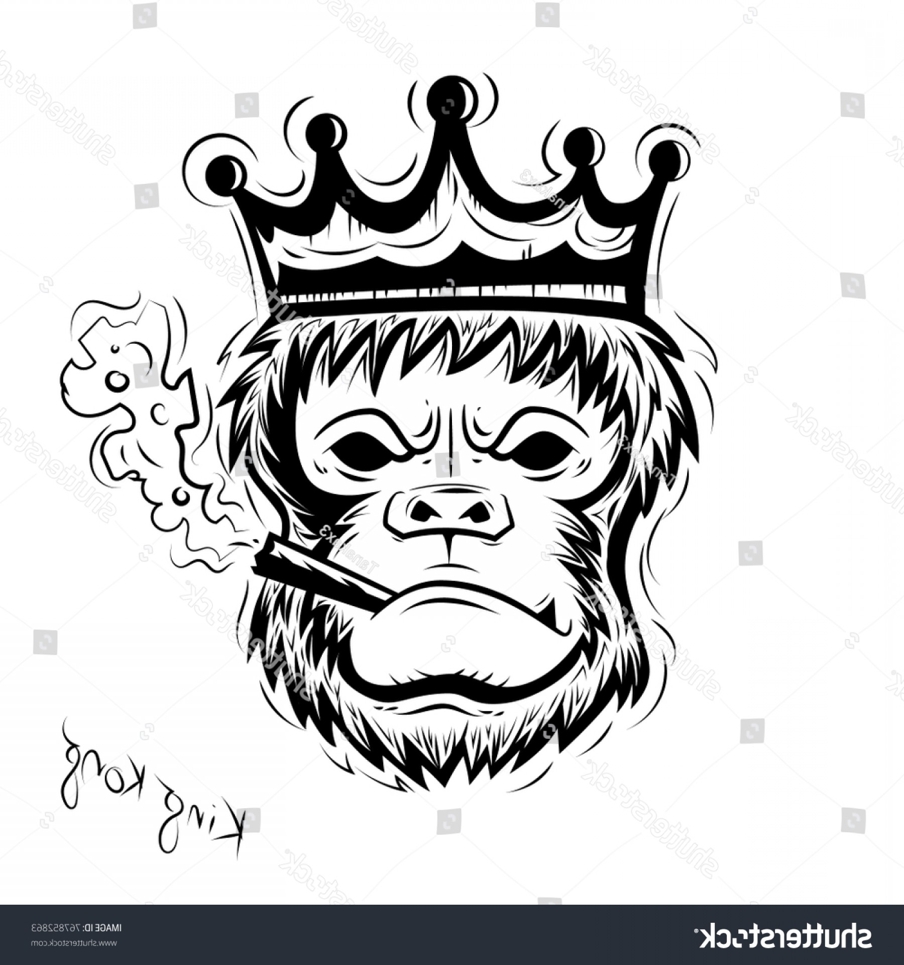 Drawings Of King Kong Vector: Gorilla Angry Wearing Crown Smokingvector Illustration