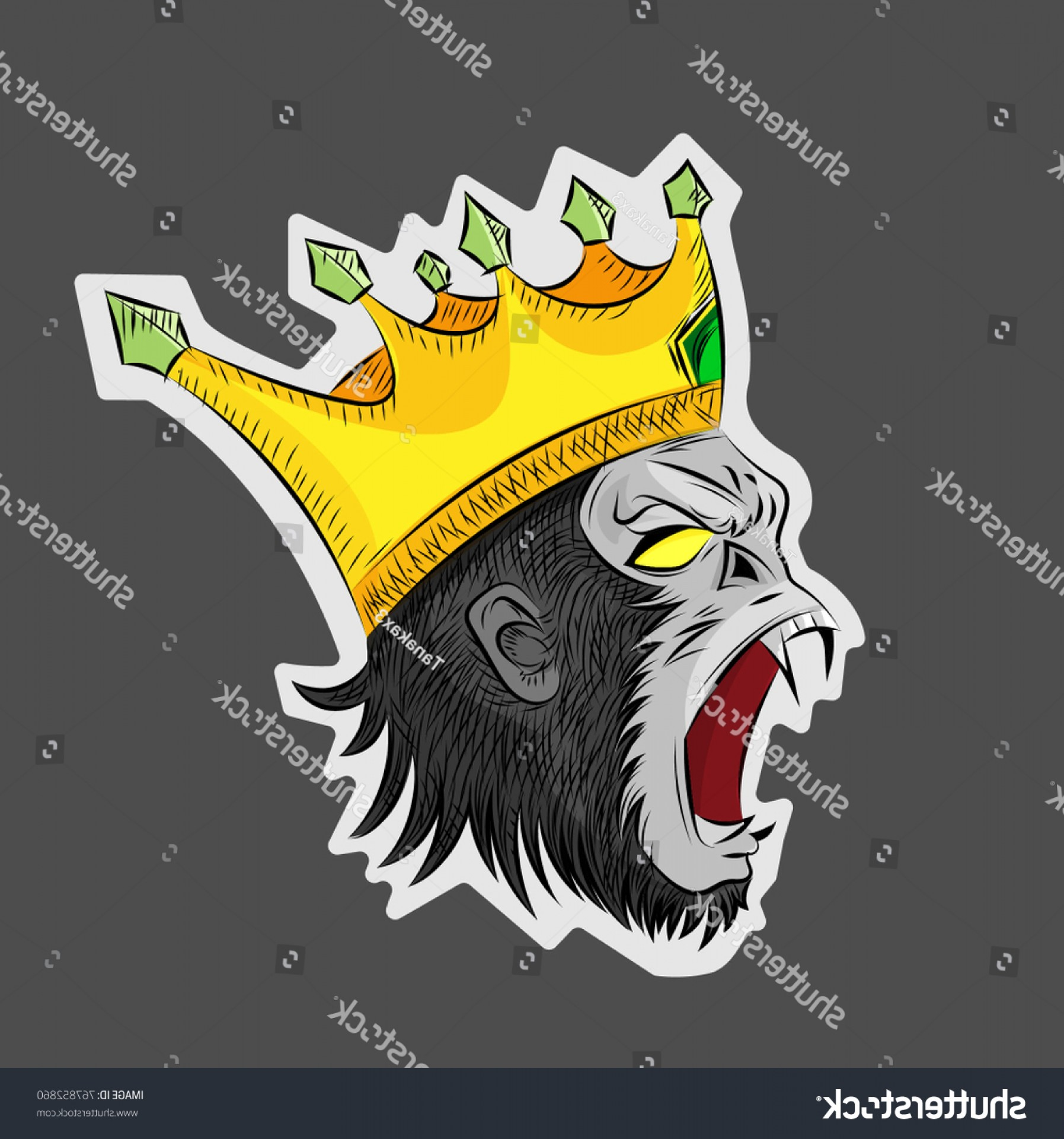 Drawings Of King Kong Vector: Gorilla Angrymonkeysking Kong Wearing Crownvector Illustration