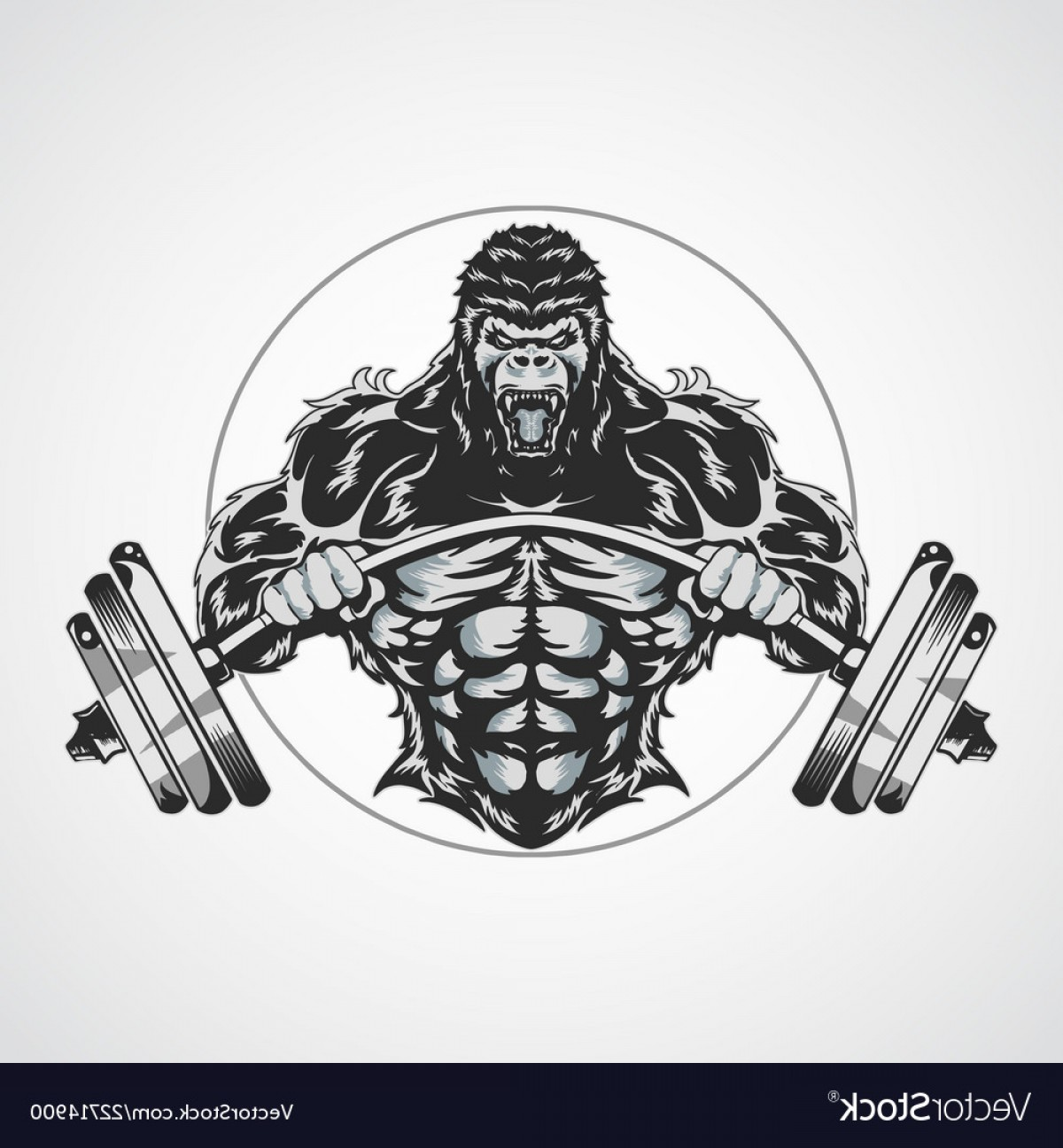 Gold Gym Vector: Gorilla Gym Symbol Logo Fitness Vector