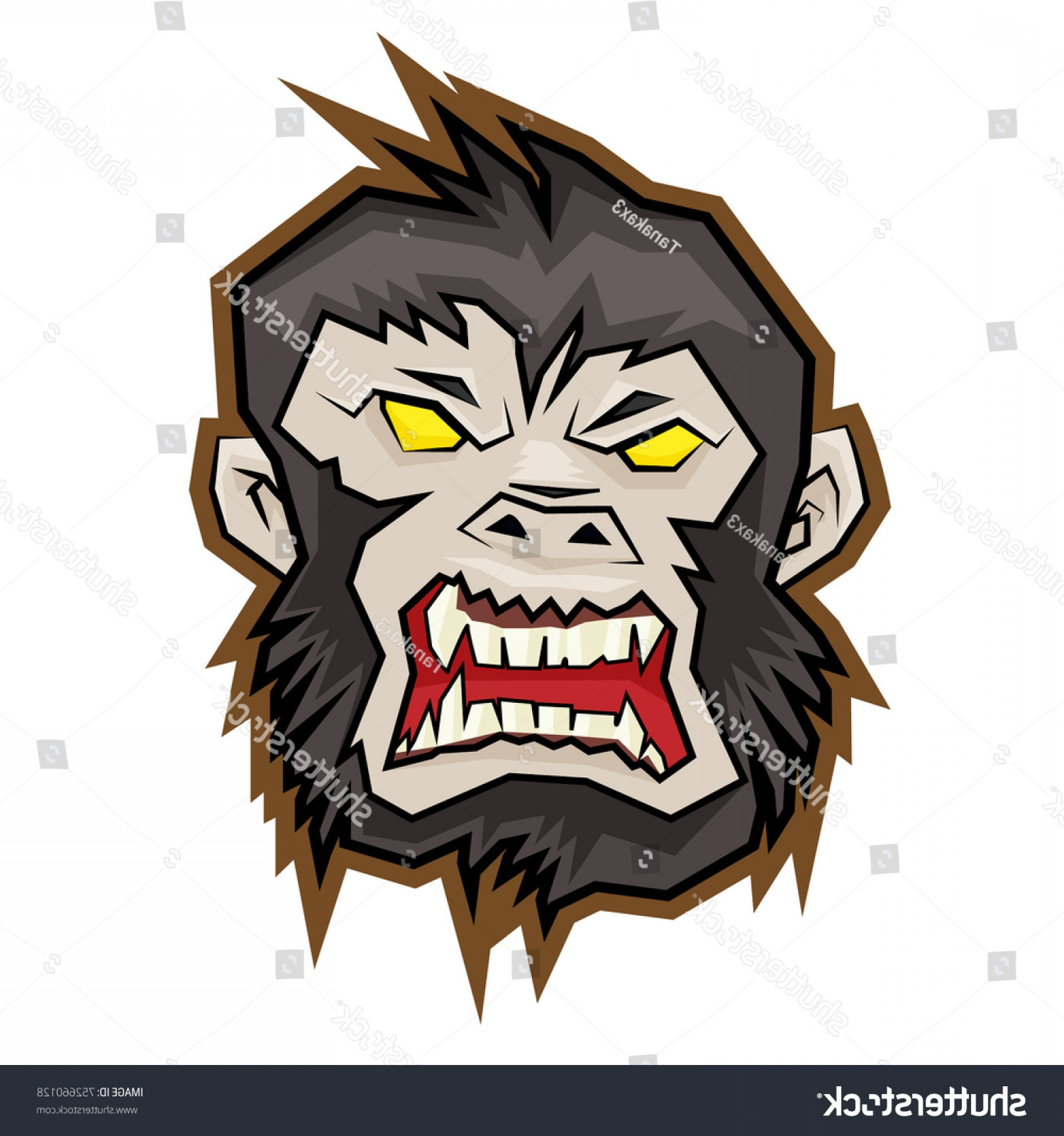 Drawings Of King Kong Vector: Gorilla Headmonkey Mascotking Kong Logo Vector