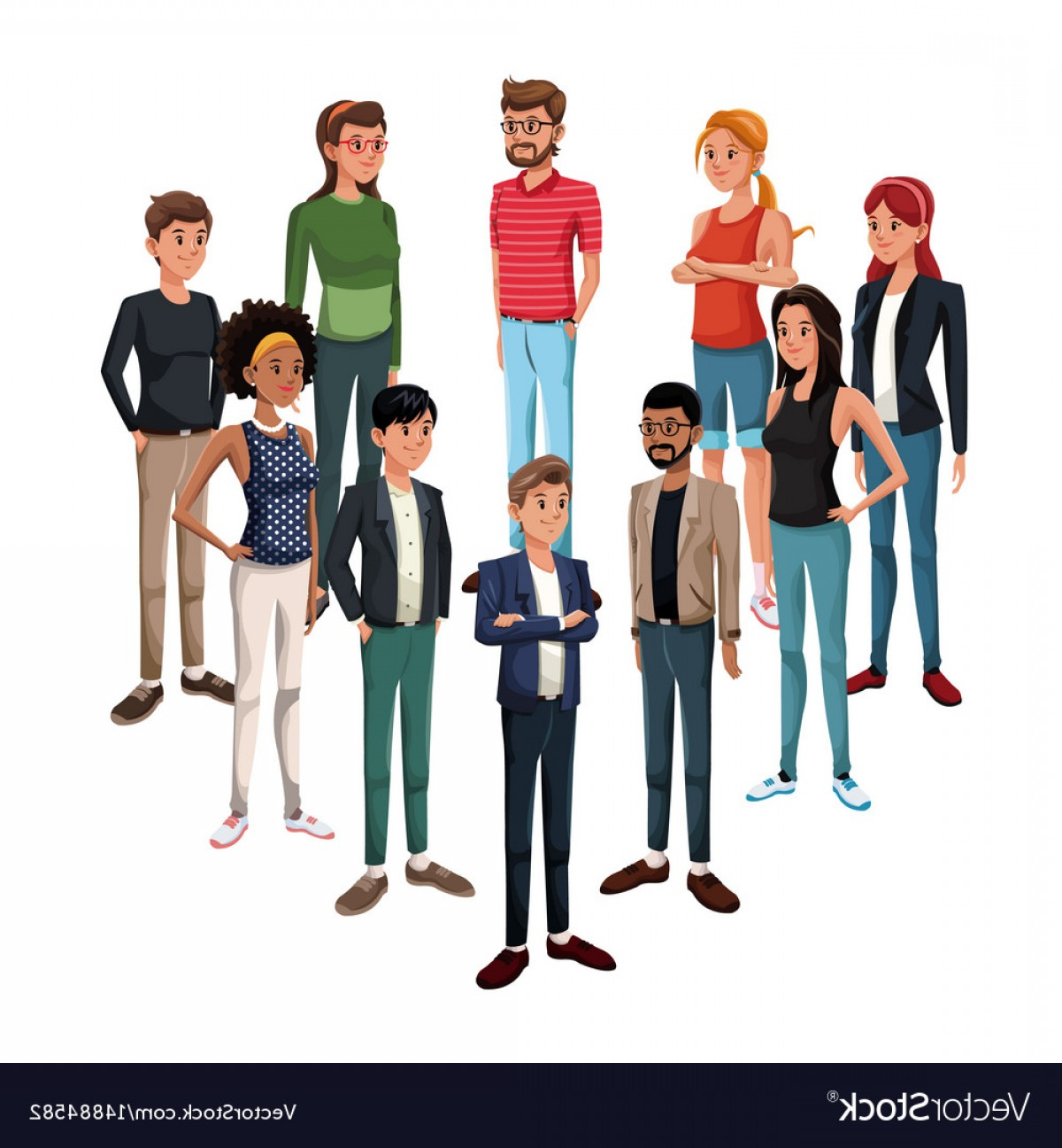 People Standing Vector: Goup Of Young People Standing Vector