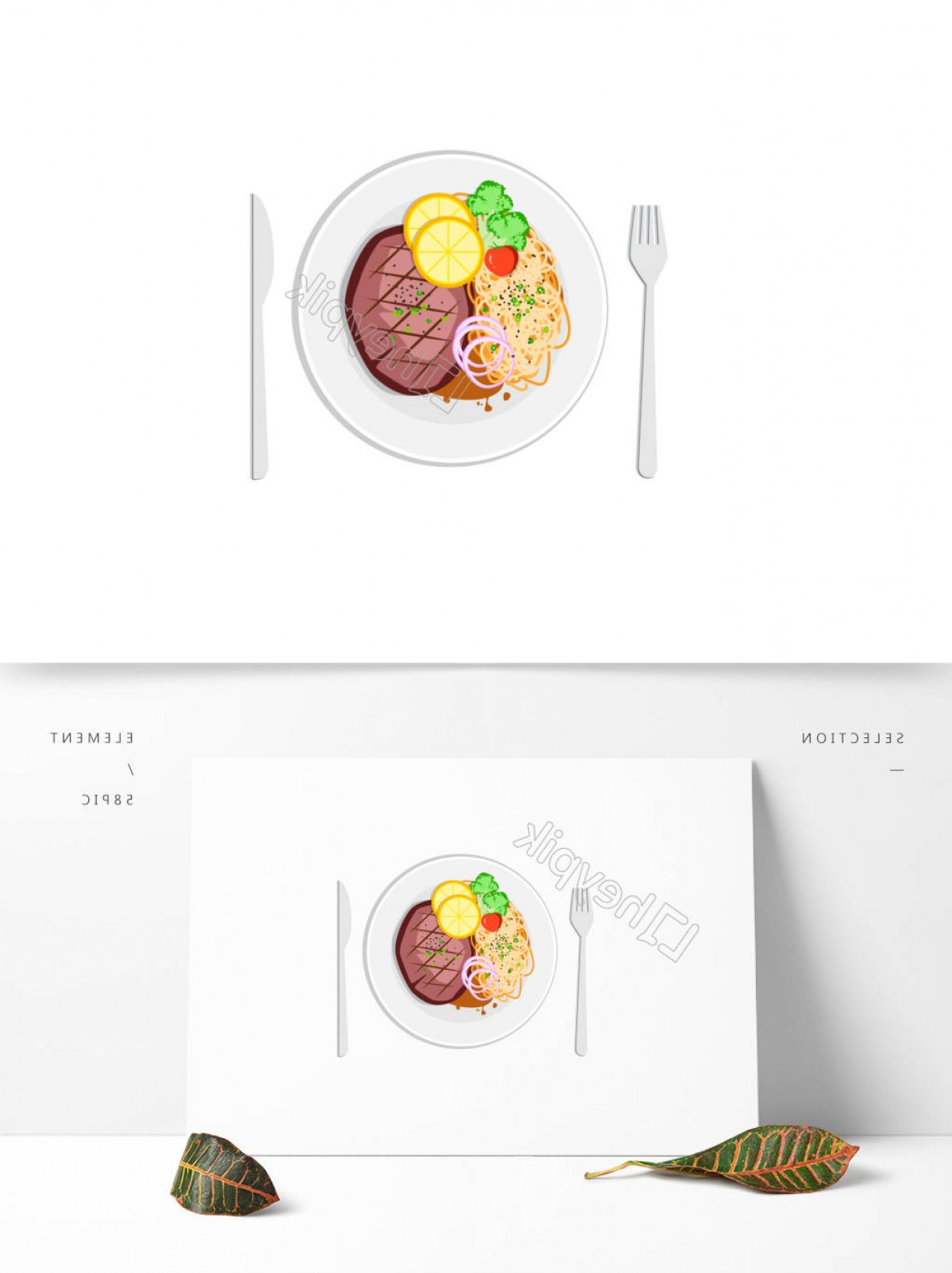 Steak Taco Vector Art: Gourmet Western Steak Pasta Commercial Elementsruxk