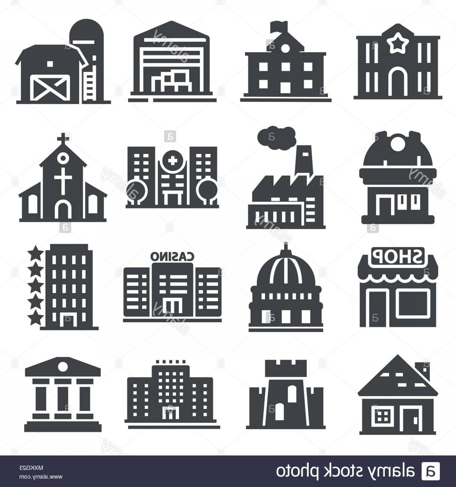 Vector Clip Art Red Schoolhouse: Government Building Icons Set Of Police School House Isolated Vector Illustration Image