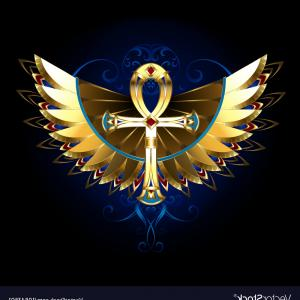 Vector Design Of An Ankh: Gold Ankh With Wings Vector