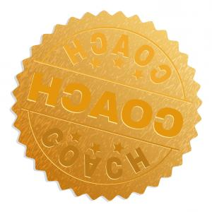 Coach Gold Logo Vector: Affiliate Marketing D Gold Badge With Red Ribbon Vector