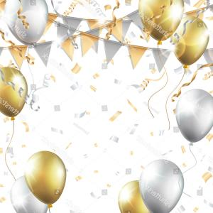 Gold Party Streamers PNG Vector: Gold Silver Balloons Confetti Streamers Party