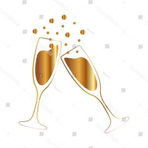 Gold Wine Glass Vector: Gold Vector Illustrations Glasses Champagne