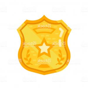 Sheriff's Star Badge Vector: Gold Warrant Police Badge Sheriff Star Oncept Order Observance Law Gm