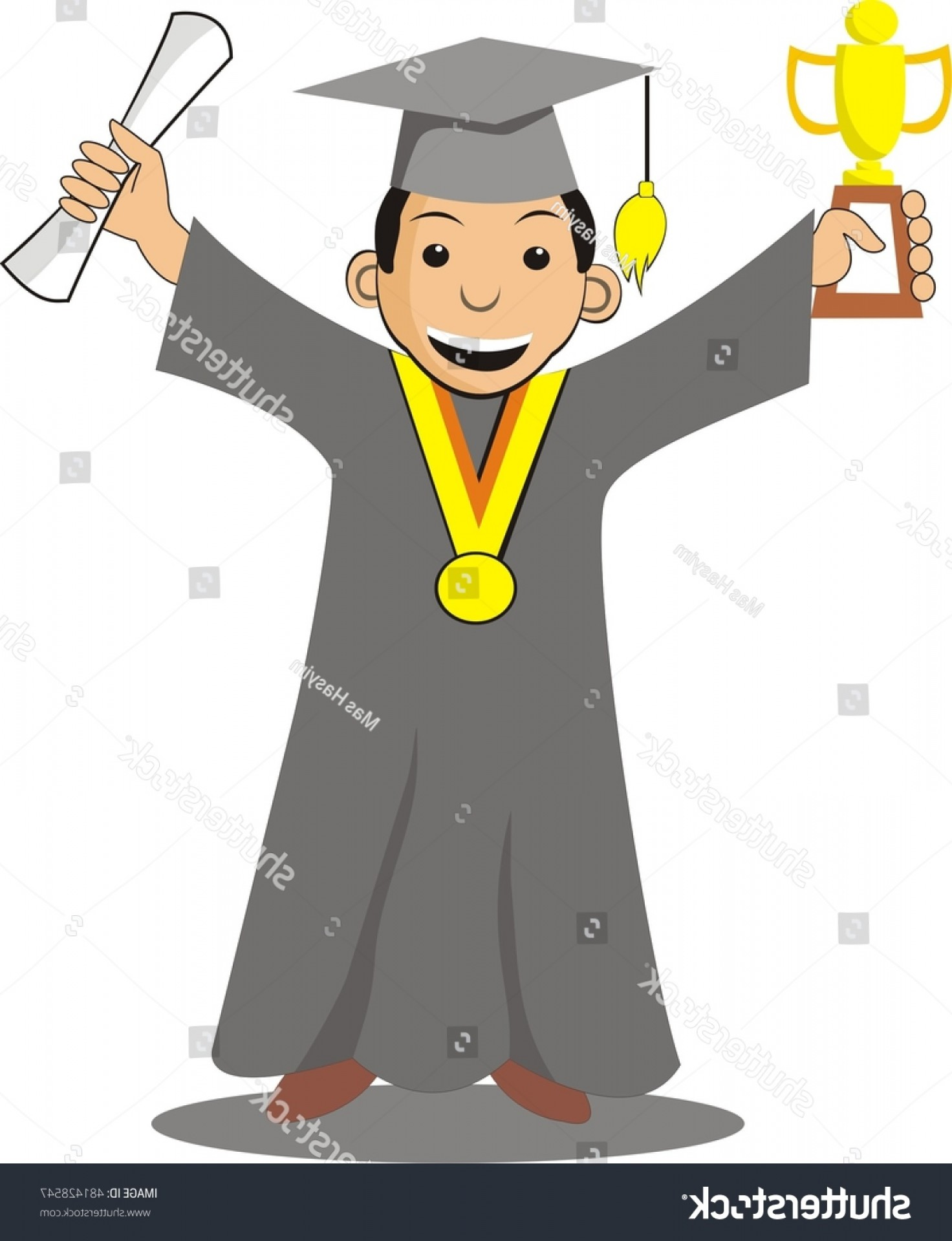 Standing Diploma Vector: Graduation Standing Holding Trophy Diploma