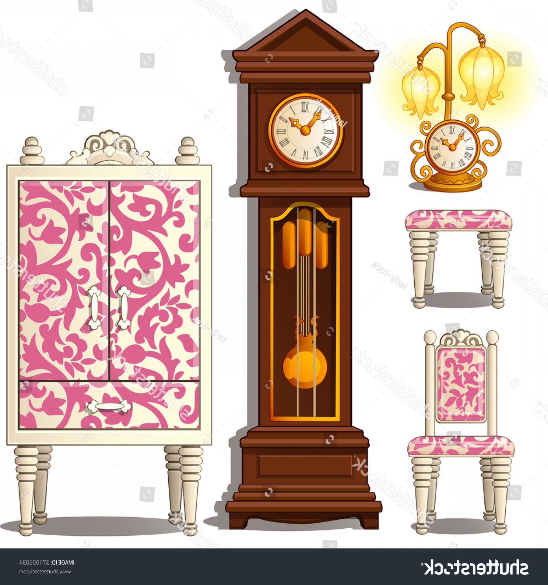 Old Floor Clock Vector: Grandfather Clock Vintage Furniture Isolated On