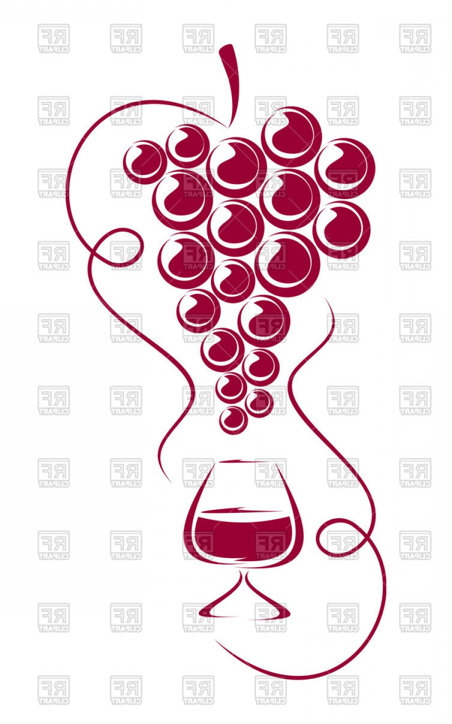 Grapes Clip Art Vector: Grapes And Wine Glass Vinery Winemaking And Wine Sampling Vector Clipart