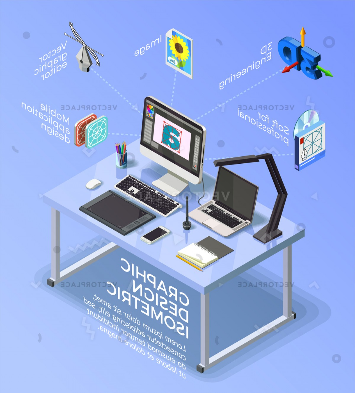 Vector Applications On Computers: Graphic Design Isometric Concept Infographics Designers Vector Illustration