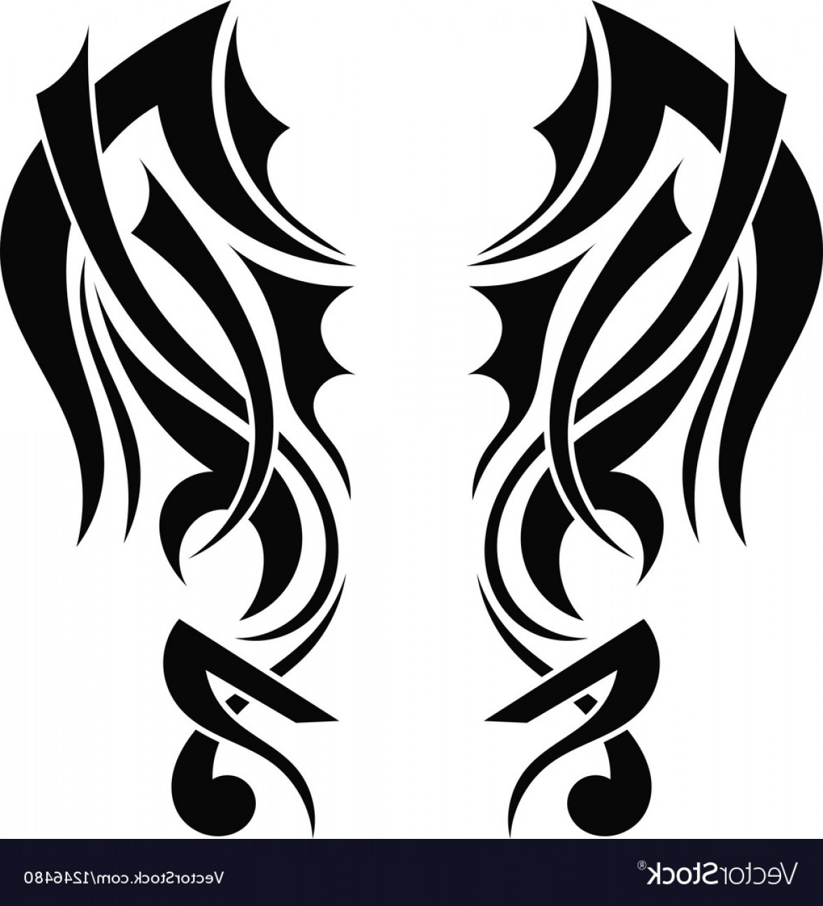 Angel Wings Tattoo Tribal Vector: Graphic Design Tribal Tattoo Wings Vector