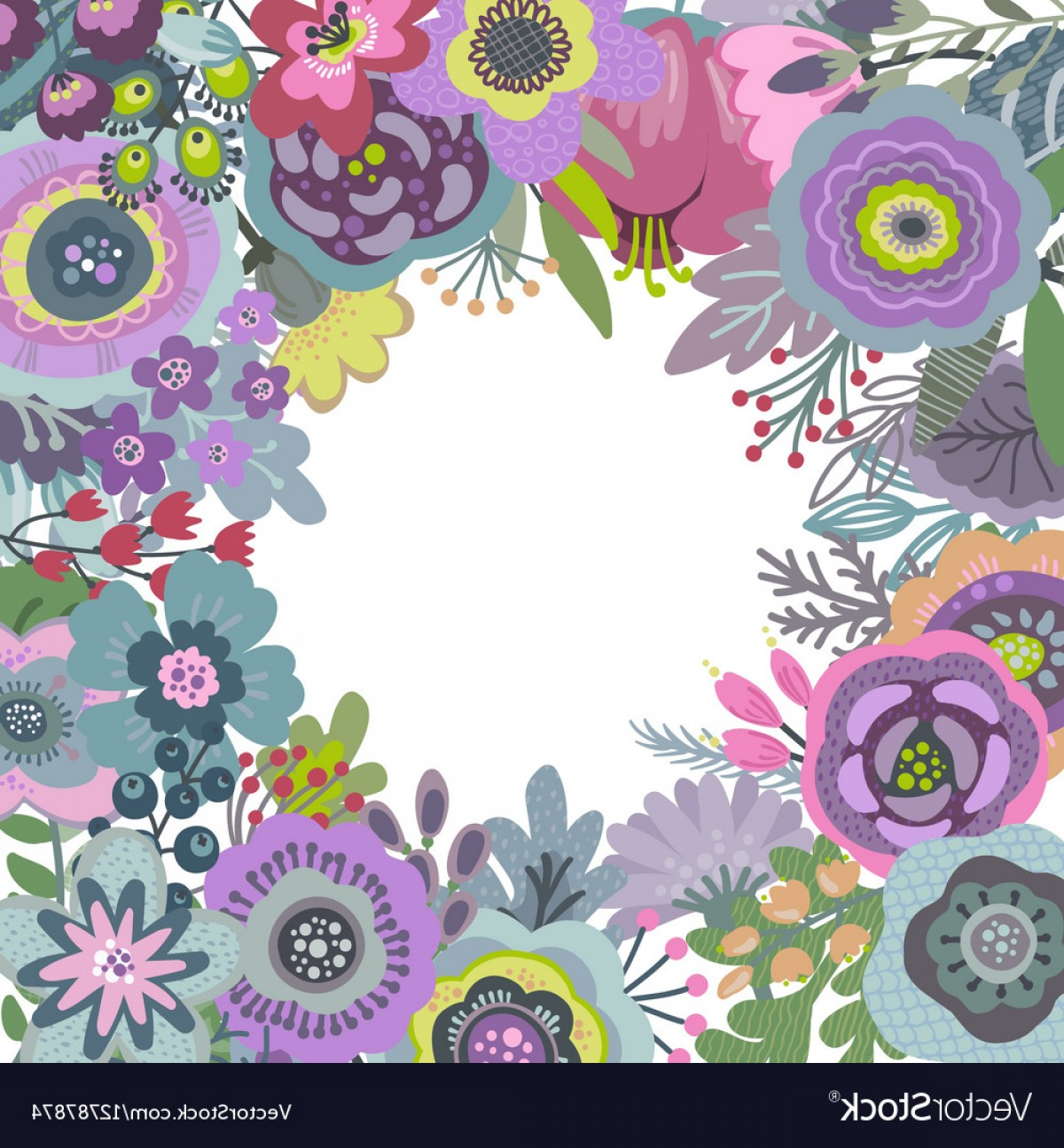 Beautiful Flowers Vector Graphic: Graphic Frame With Beautiful Flowers Vector