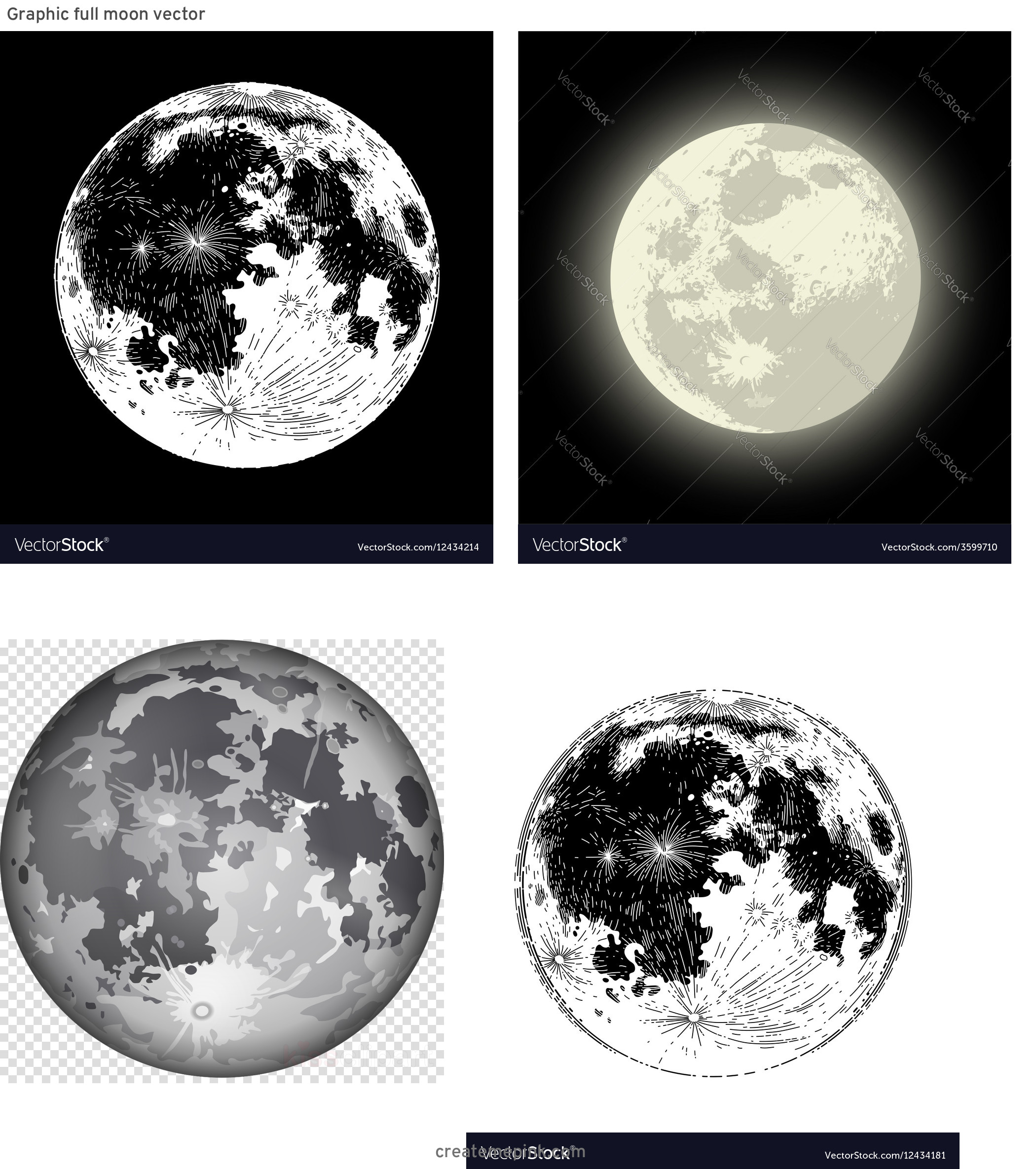 Full Moon Vector Art: Graphic Full Moon Vector