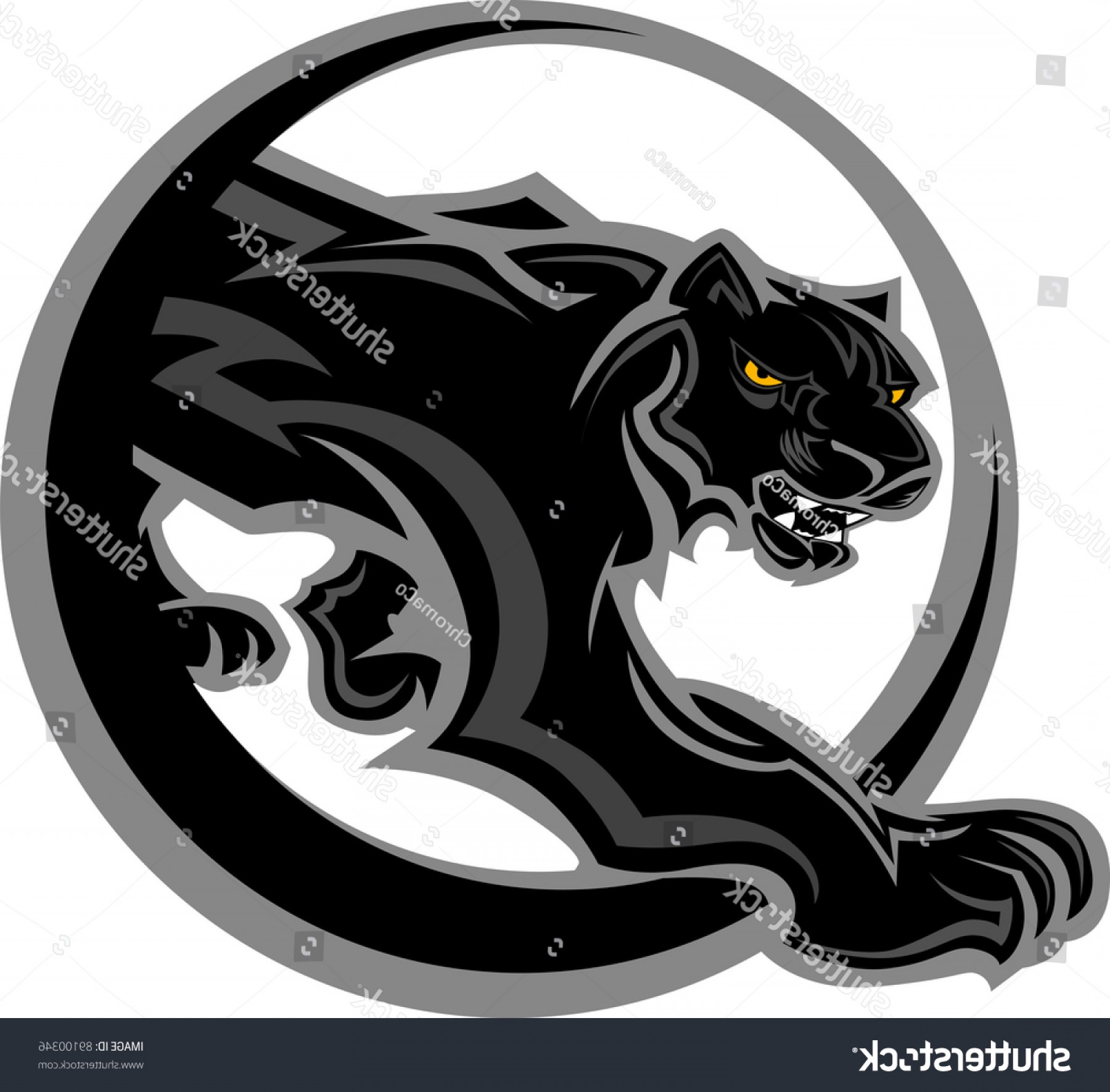 Vector Panther Football: Graphic Mascot Vector Image Black Panther