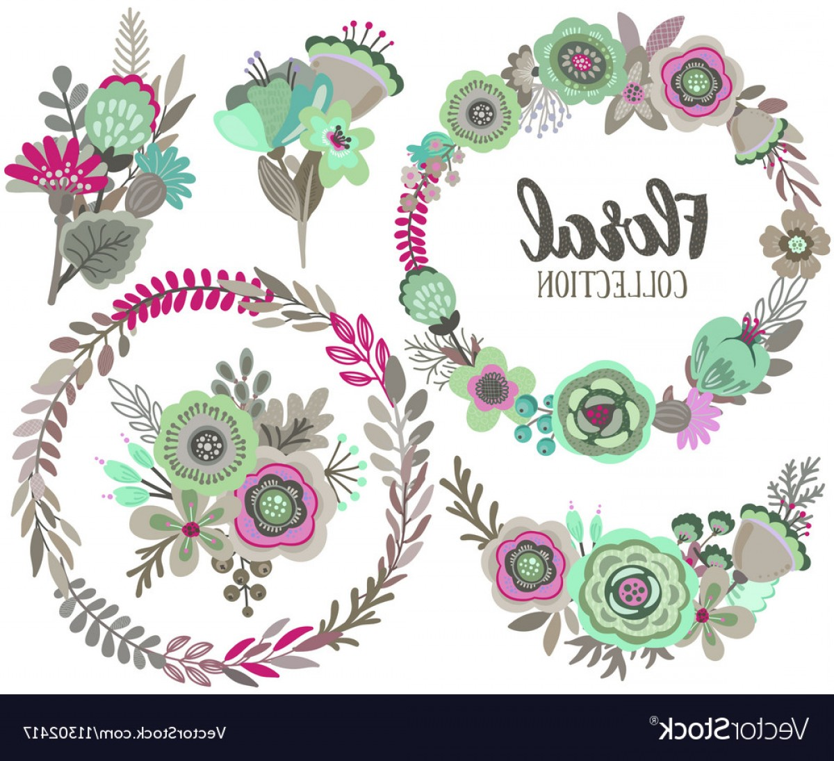 Beautiful Flowers Vector Graphic: Graphic Set With Beautiful Flowers Floral Vector