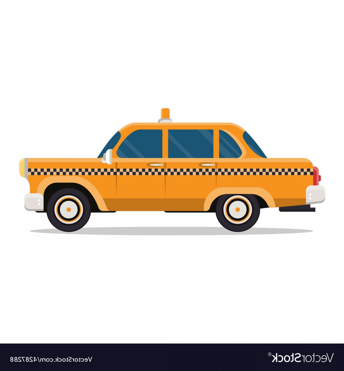 New York Taxi Cab Vector: Graphic Yellow Retro Taxi Cab On White Vector