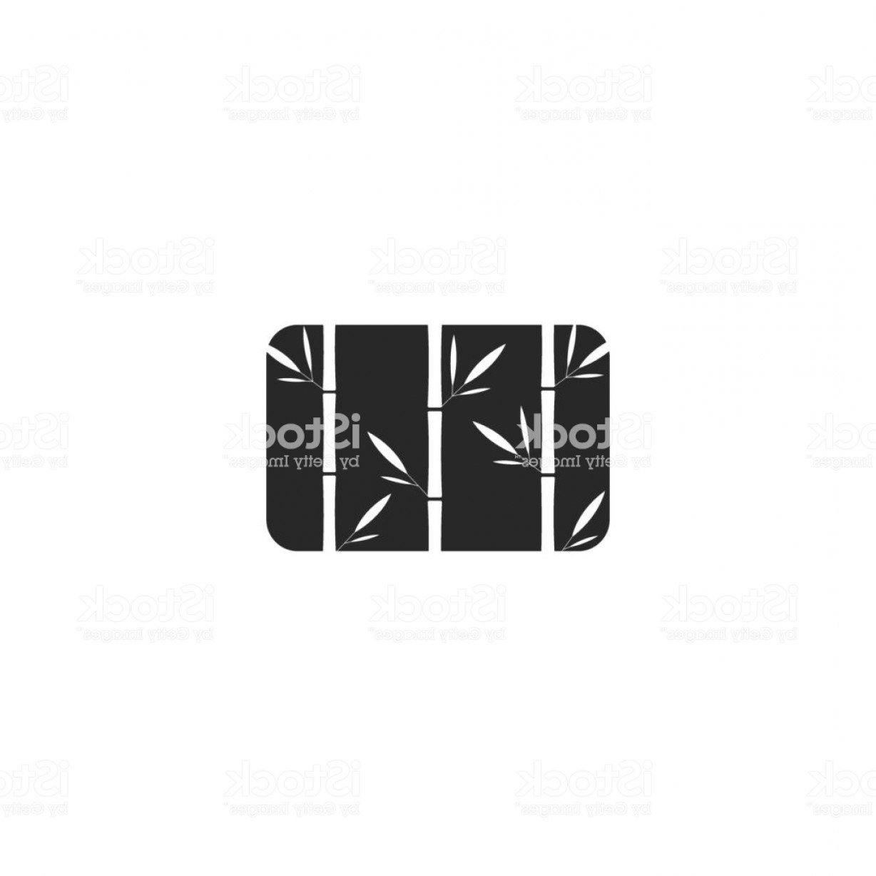 Black And White Negative Vector: Grass Bamboo Logo Rectangle Shape Black And White Negative Space Style Creative Gm