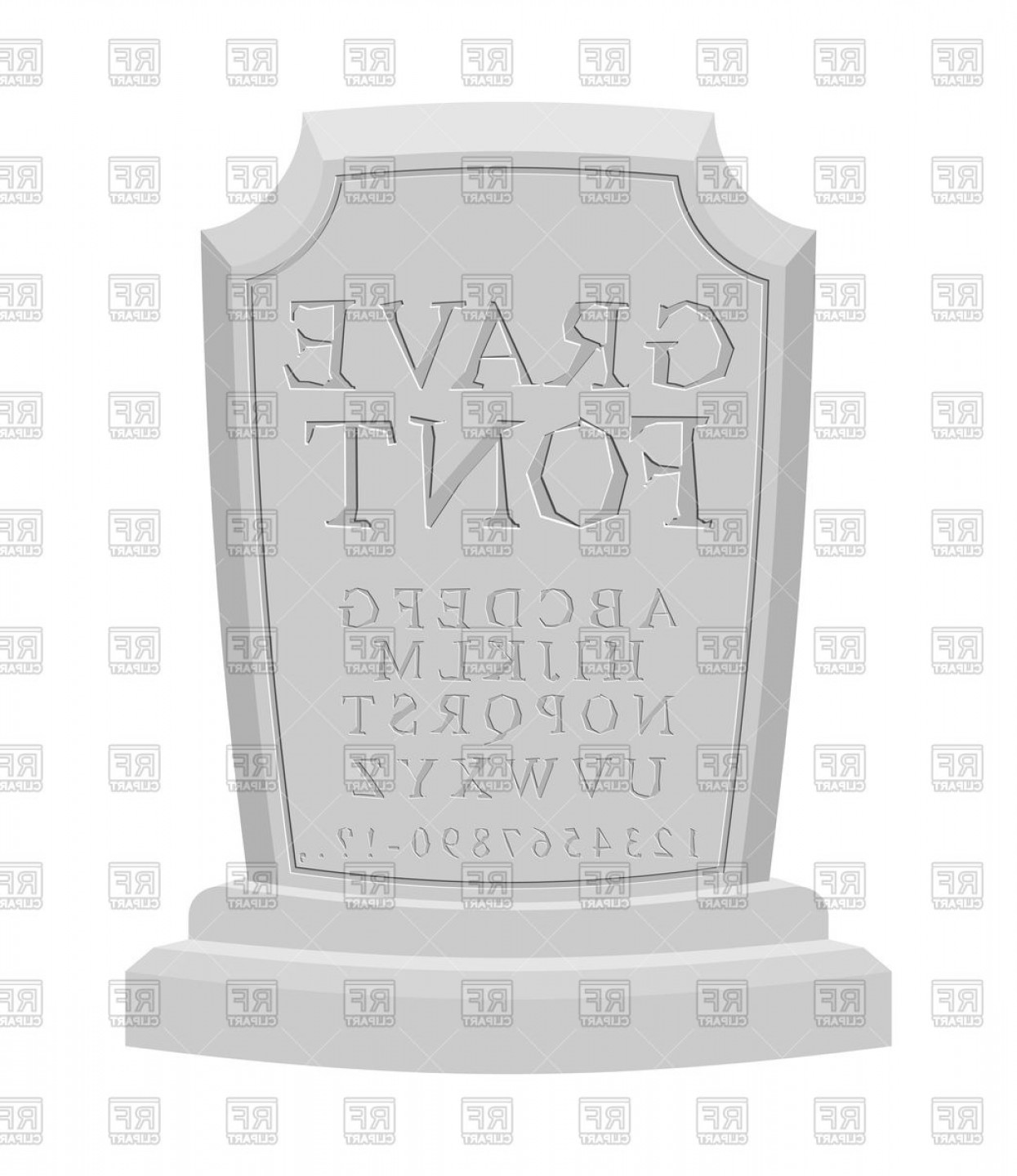 Gravestone Outline Vector: Grave Font Tomb With Abc Letters On Gravestone Vector Clipart