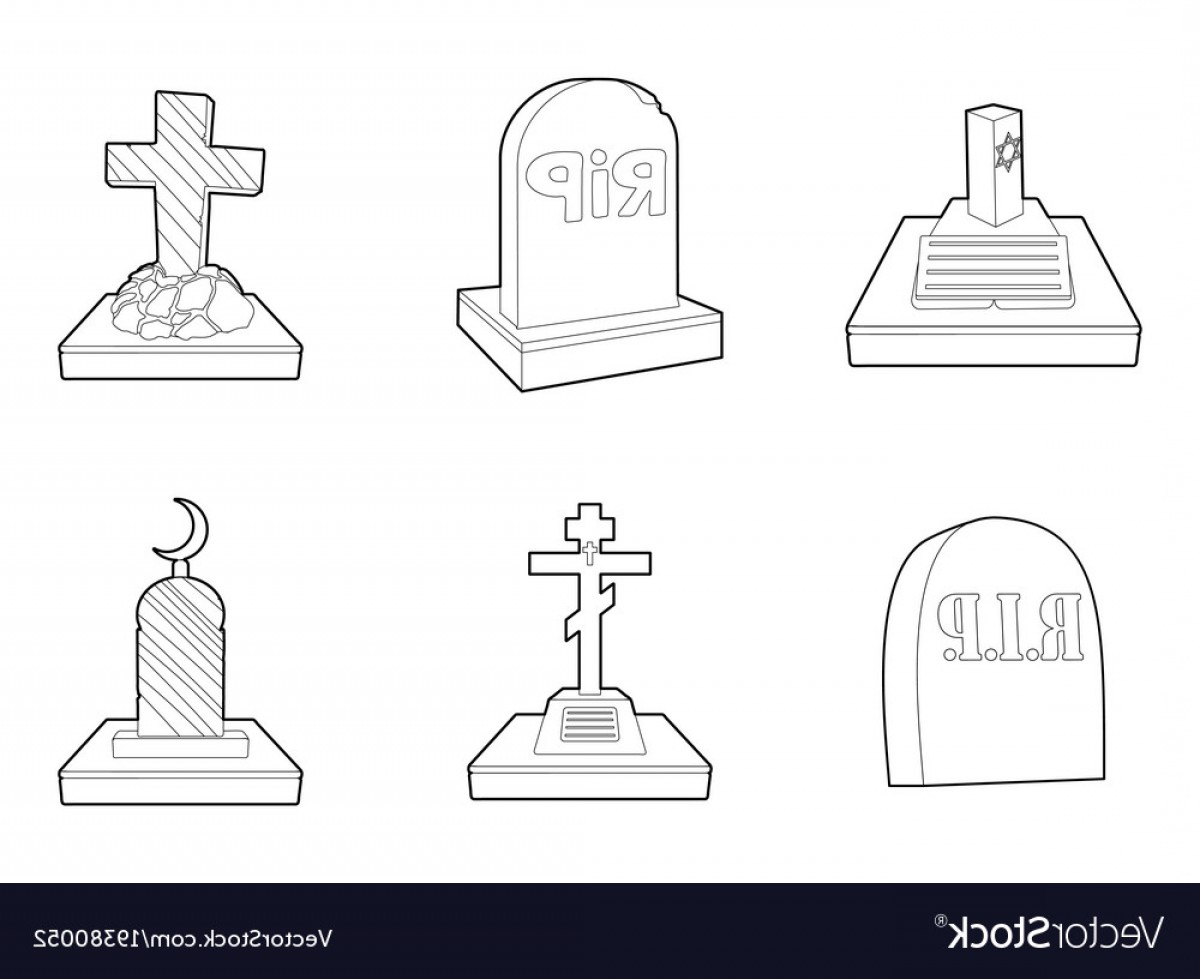 Gravestone Outline Vector: Grave Icon Set Outline Style Vector