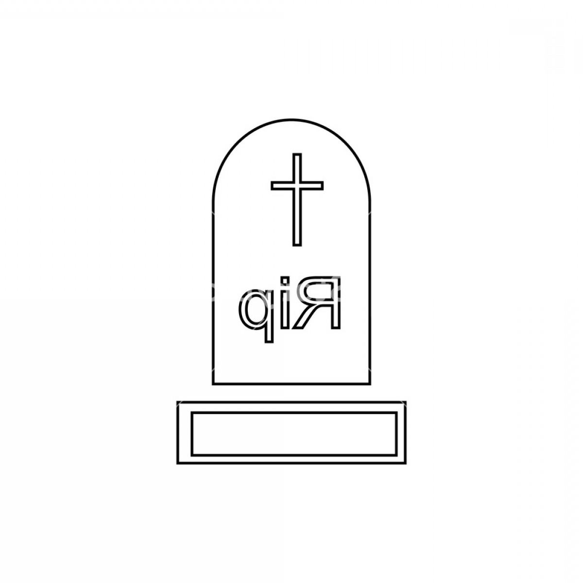 Gravestone Outline Vector: Gravestone Icon Outline Illustration Of Gravestone Vector Icon For Web Design Hgevk Xyjhjmqfs