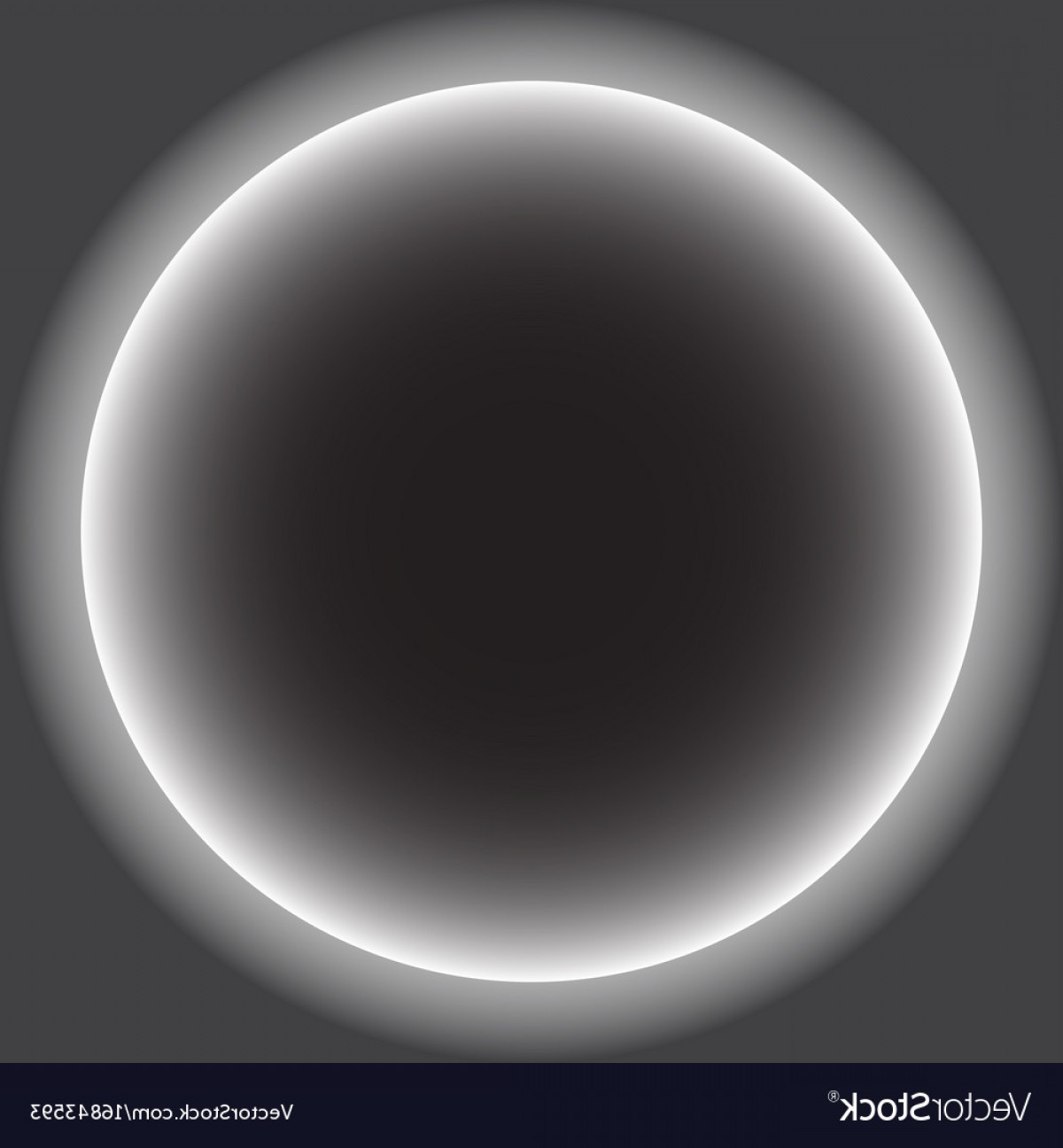 Whitew Eclipse Vector: Gray Circle With White Halo Solar Eclipse Vector