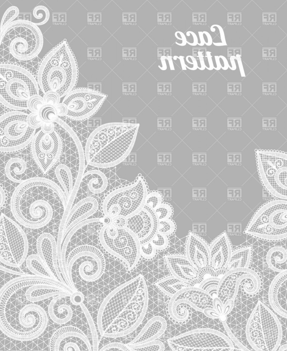 White Lace Vector: Gray Pattern Made Of White Lace Flowers Vector Clipart