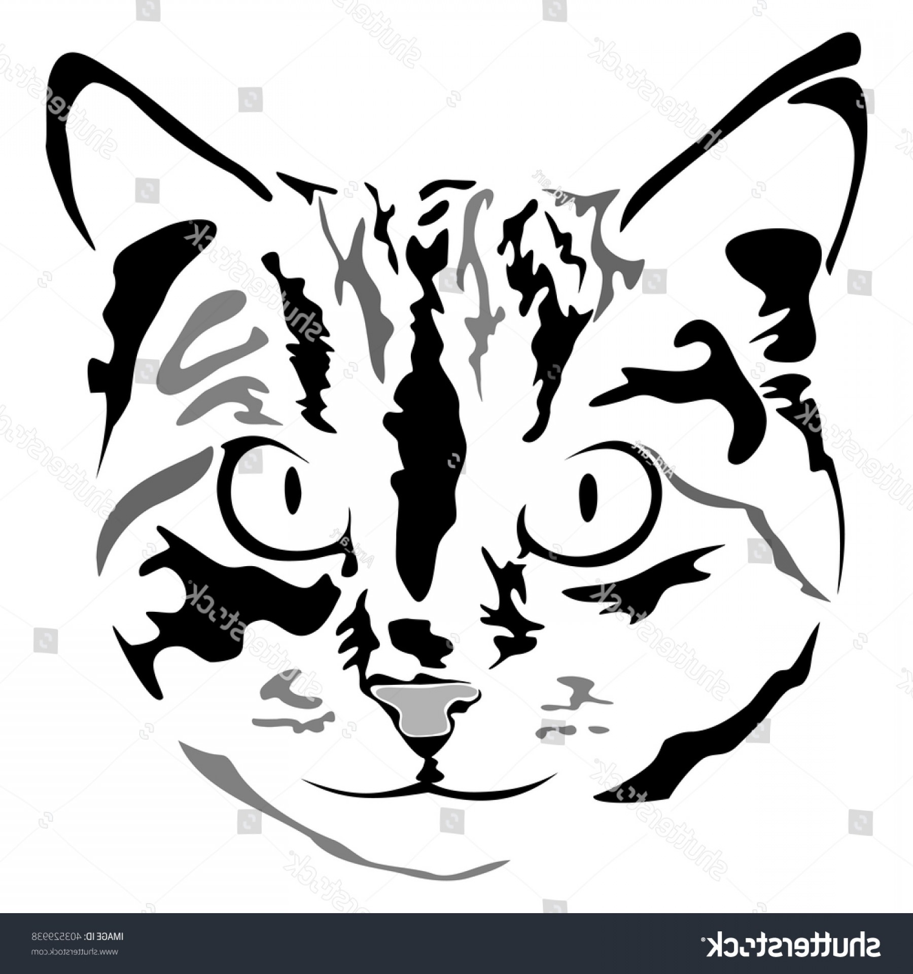 Malee Cat Head Silhouette Vector: Grayscale Cat Head Sketch Isolated On