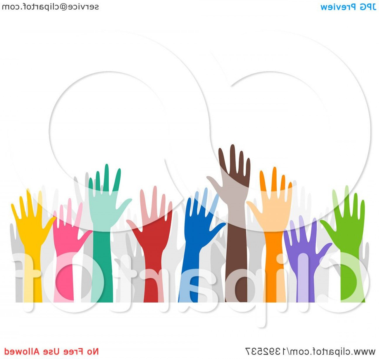 Volunteer Clip Art Vector: Grayscale Group Of Urban Residents Crossing Their Arms And Holding Hands Around Their Town