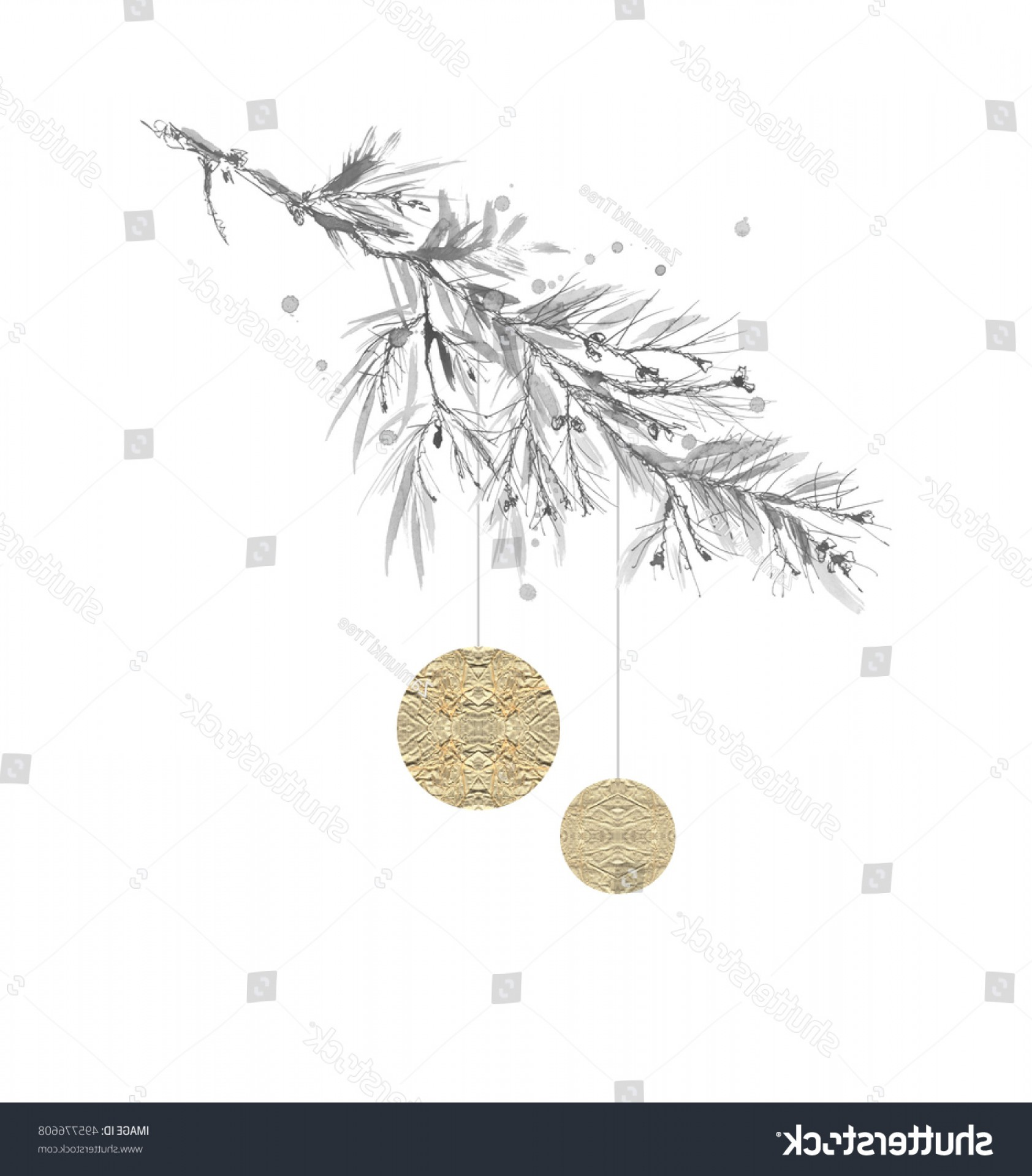Vector-Based Grayscale Christmas: Grayscale Monochrome Drawing Branch Pine Spruce