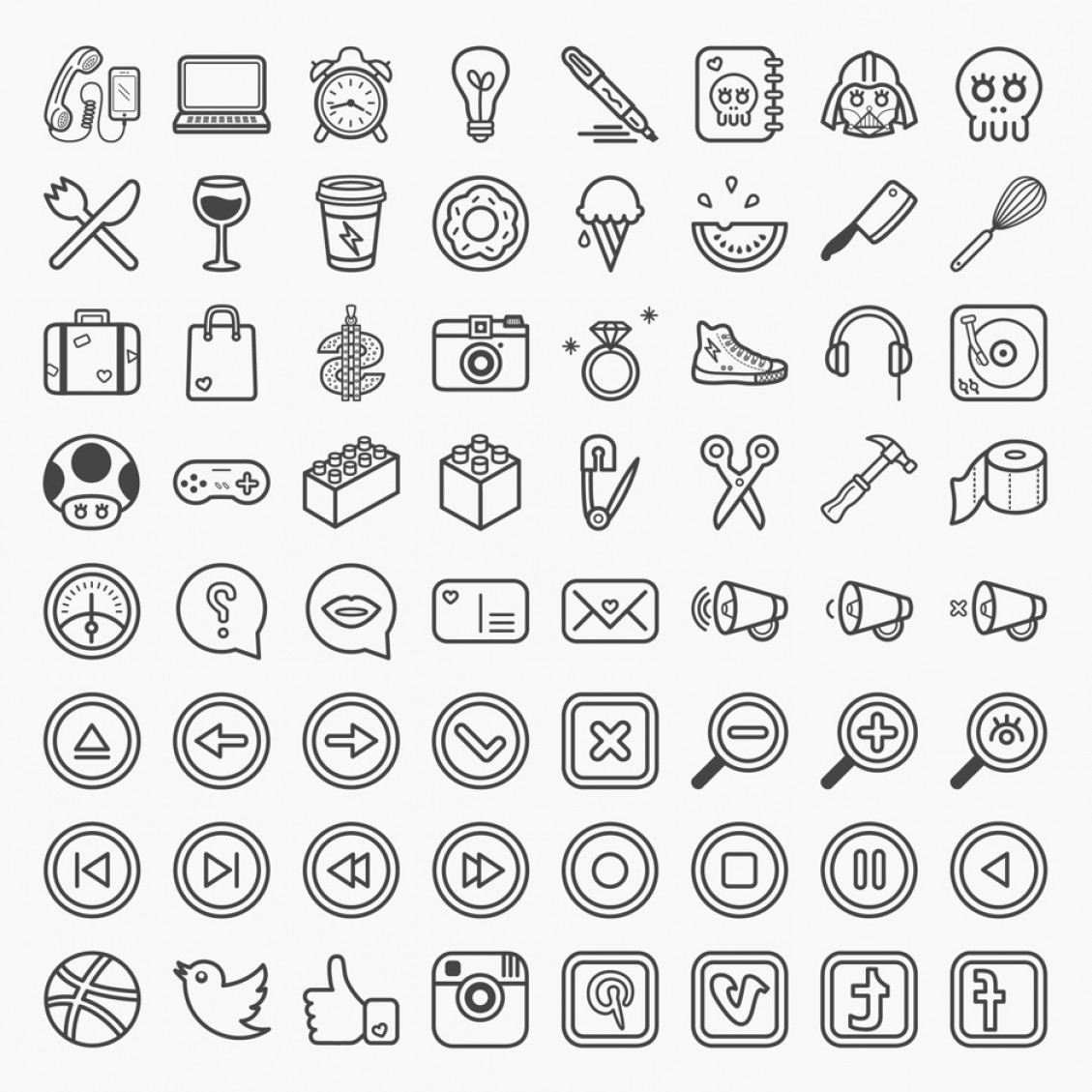 Downloadable Vector Art: Great Collection Of Free Vector Icons And Pictograms For Interfaces And Responsive Web Design