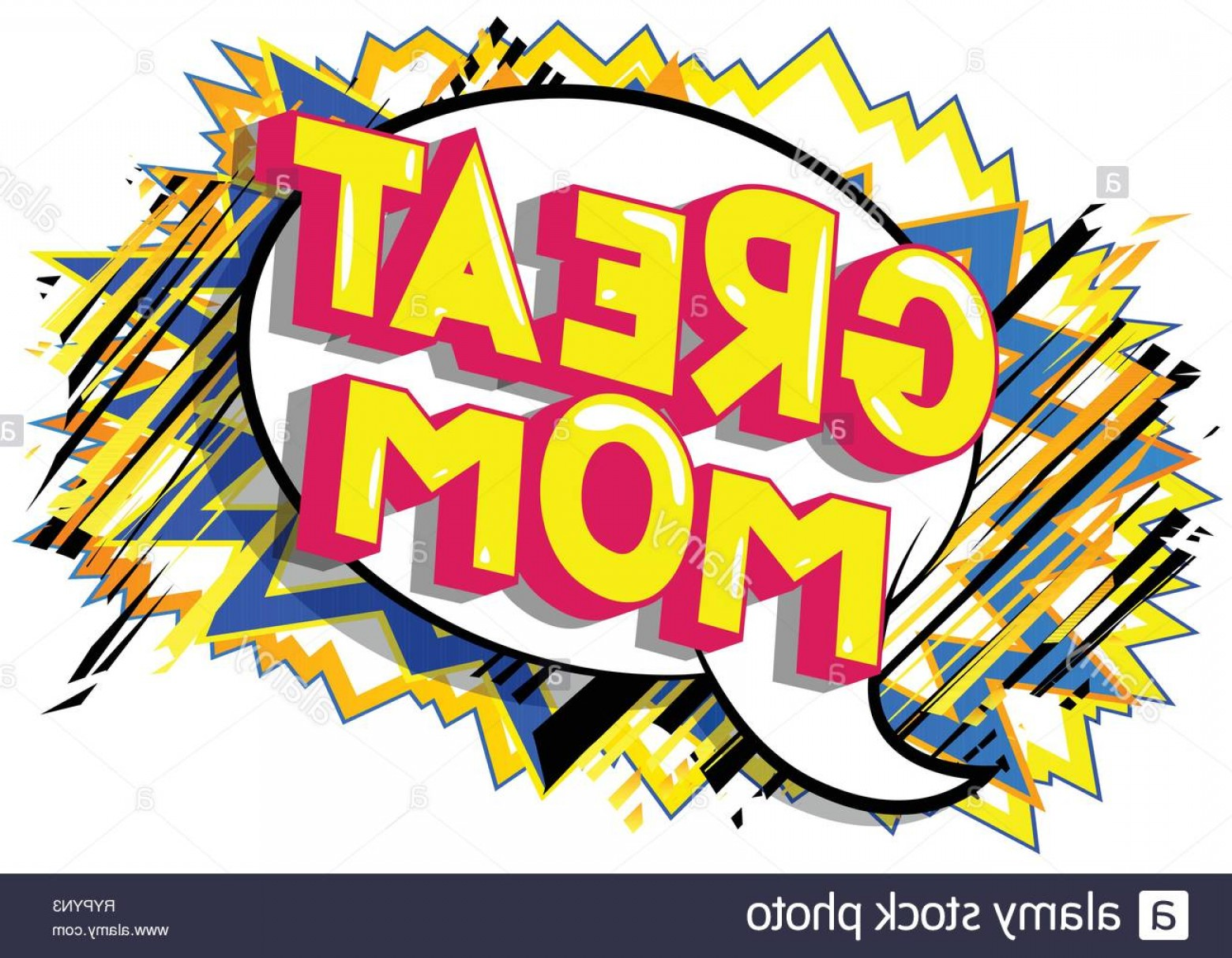 Comic Book Vector Png: Great Mom Vector Illustrated Comic Book Style Phrase On Abstract Background Image