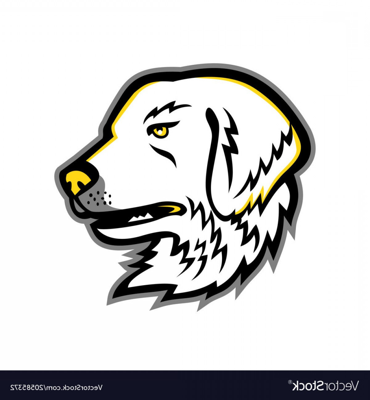Dog Mascot Vector: Great Pyrenees Dog Mascot Vector