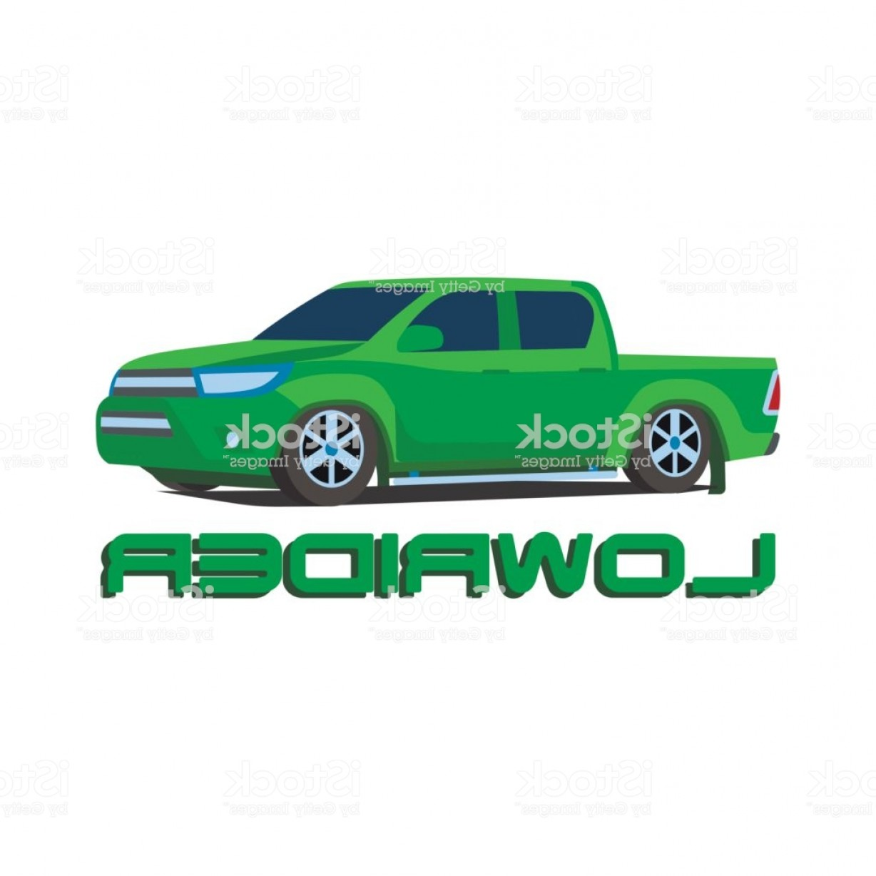 Lowrider Vector: Gree Pickup Truck Lowrider Car Vector Illustration Gm