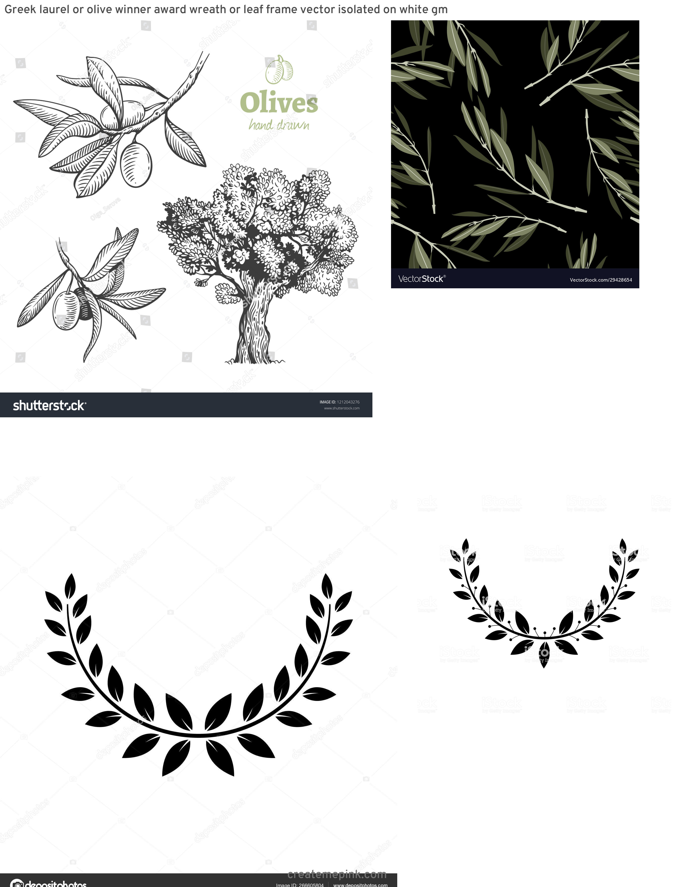 Olive Black And White Vector Leaves: Greek Laurel Or Olive Winner Award Wreath Or Leaf Frame Vector Isolated On White Gm