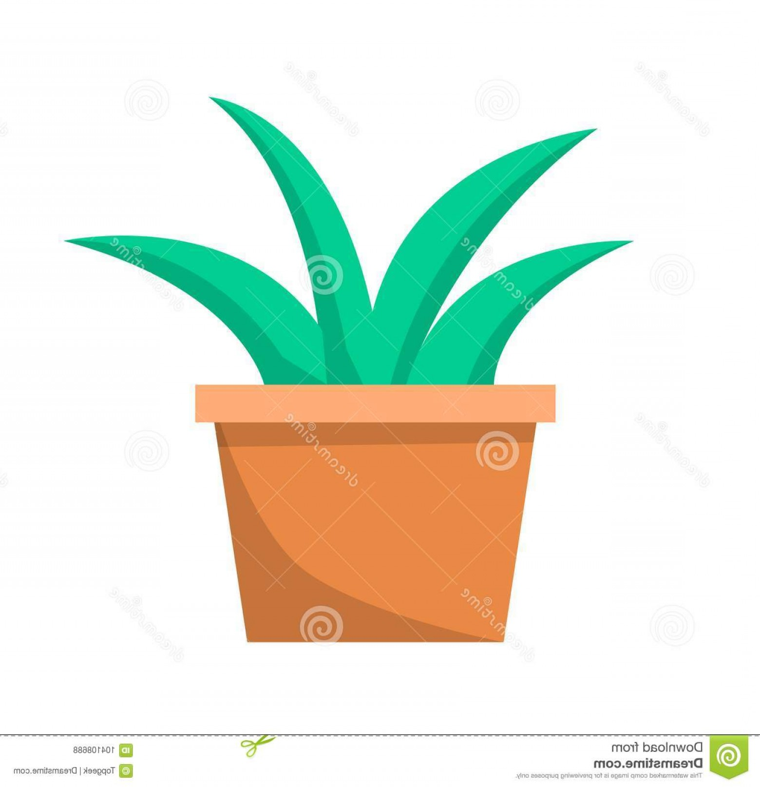 Clay Window Vector: Green Aloe Plant Clay Pot Vector Illustration Icon Isolated White Background Traditional Element Decoration Window Image