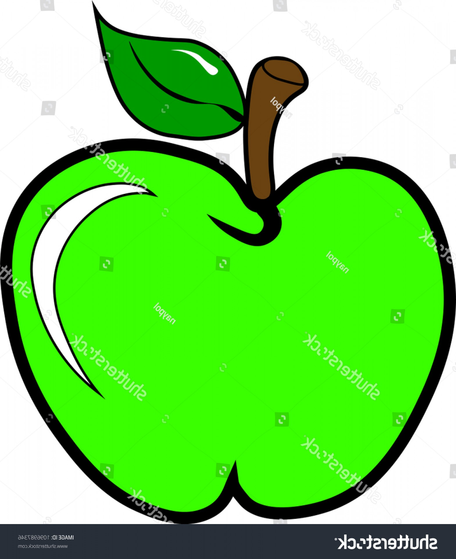 Bitmap To Vector Graphics: Green Apple Icon Cartoon Image Bitmap