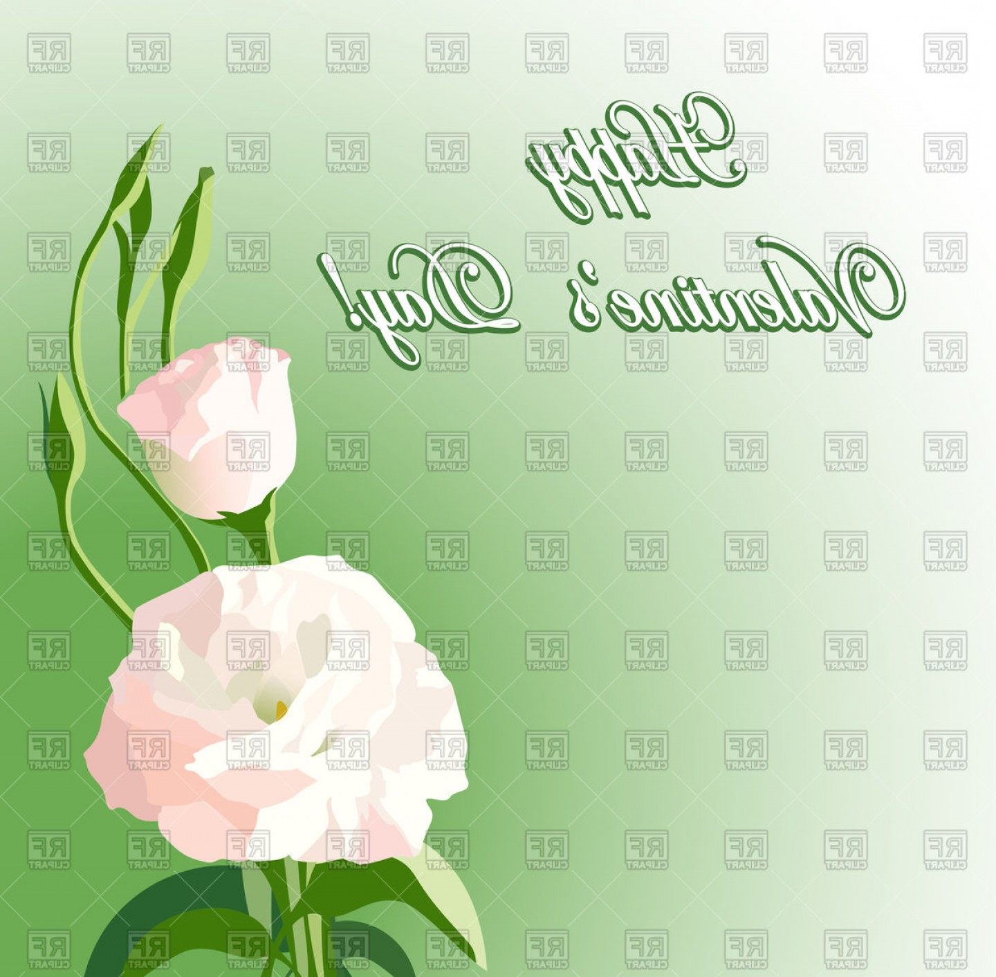 Beautiful Flowers Vector Graphic: Green Background With Beautiful Flowers Vector Clipart